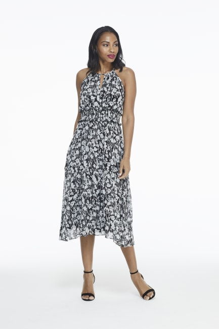 Lexi Black/White Floral Smock Waist Halter Midi Dress - Petite