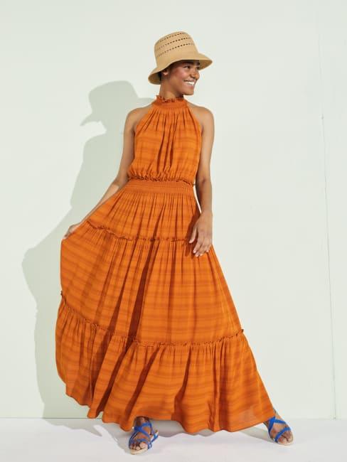 Taylor Dresses Cut Away Smocked Maxi Dress