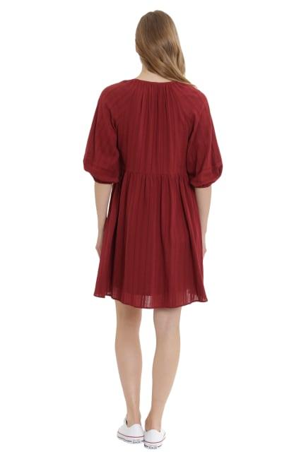 Zoey Notch Neck Cotton Blouson Dress