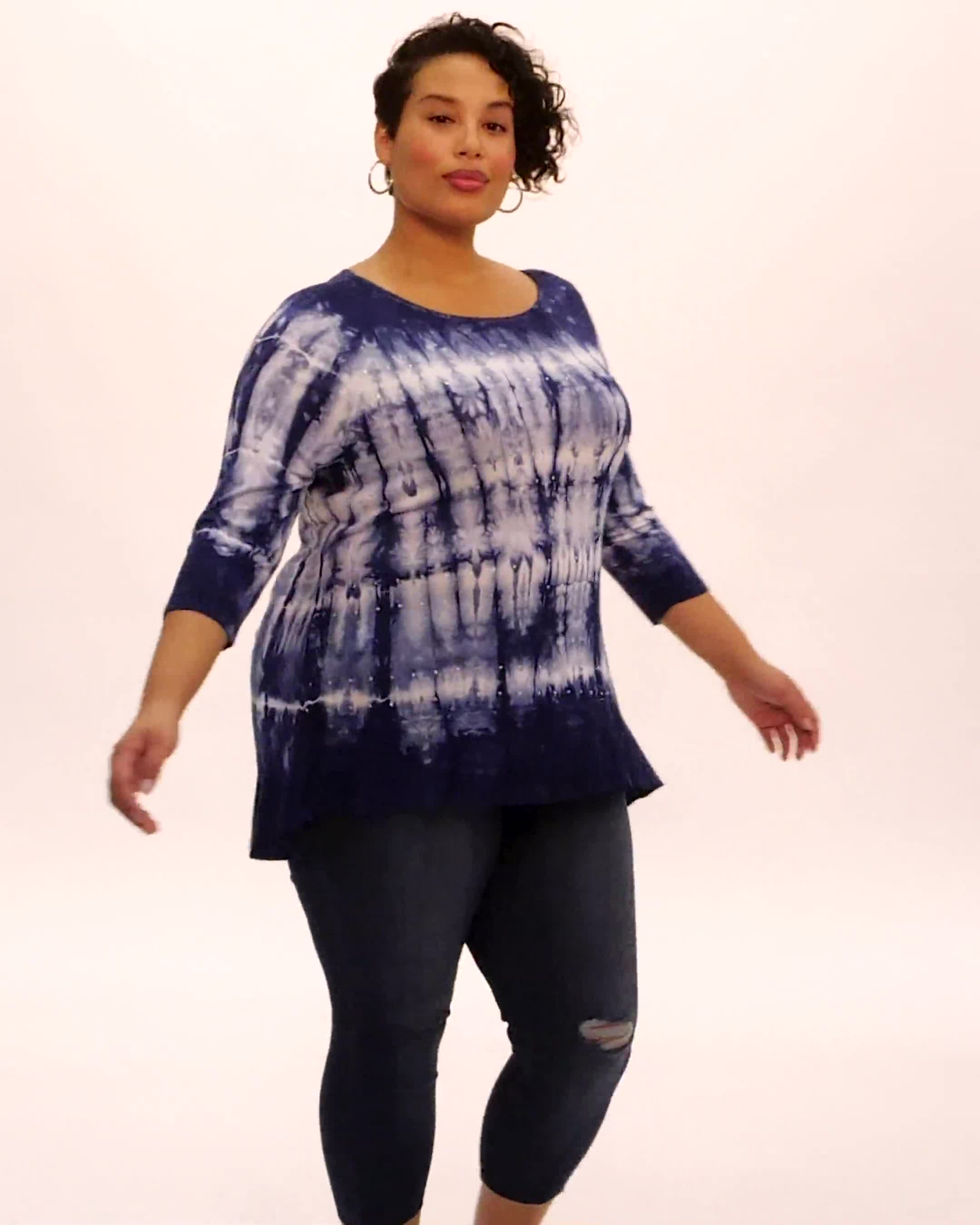 Tie Dye Hi-Lo Hem Knit Top - Plus - Video