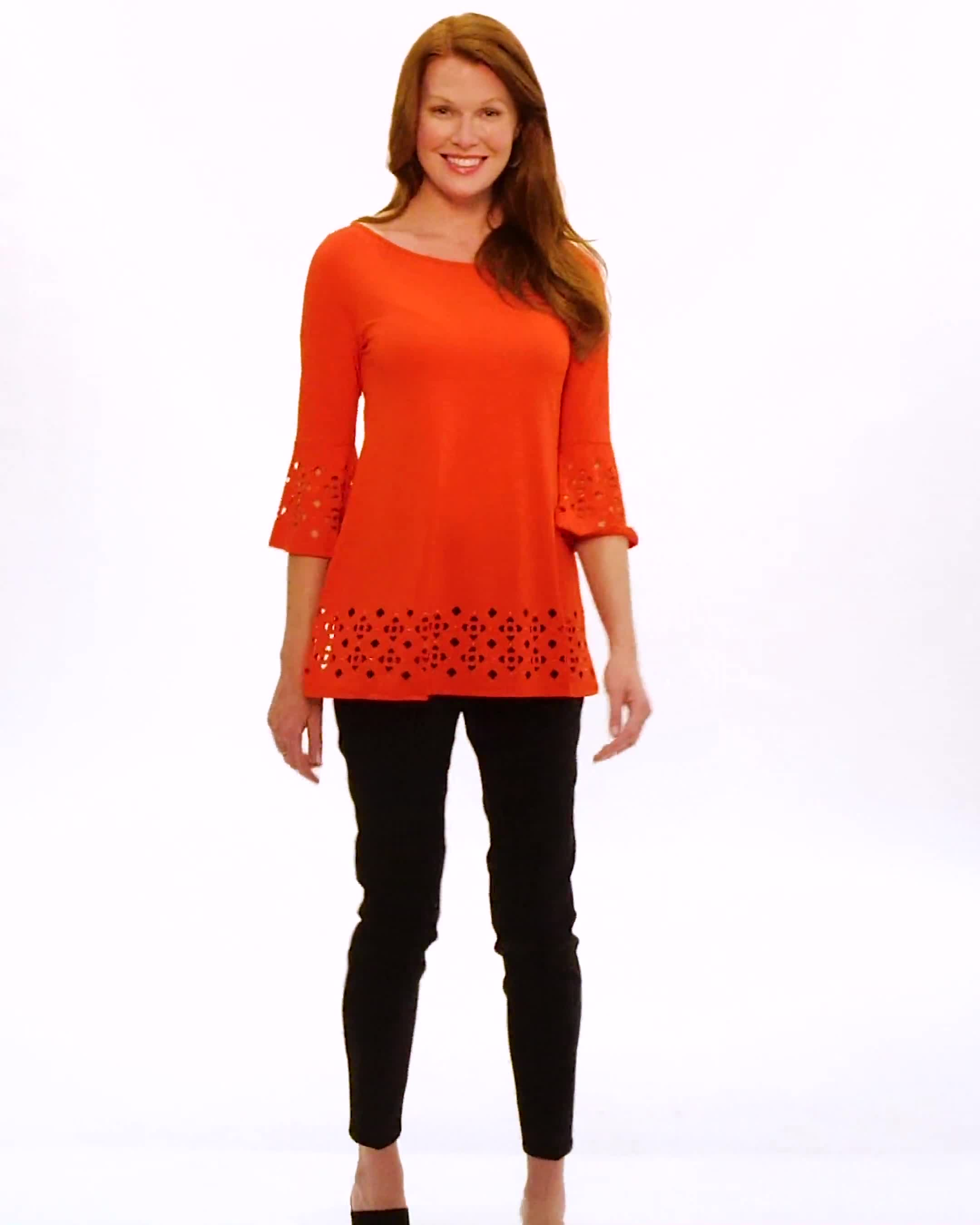 Boat Neck Bell Sleeve Knit Tunic - Video