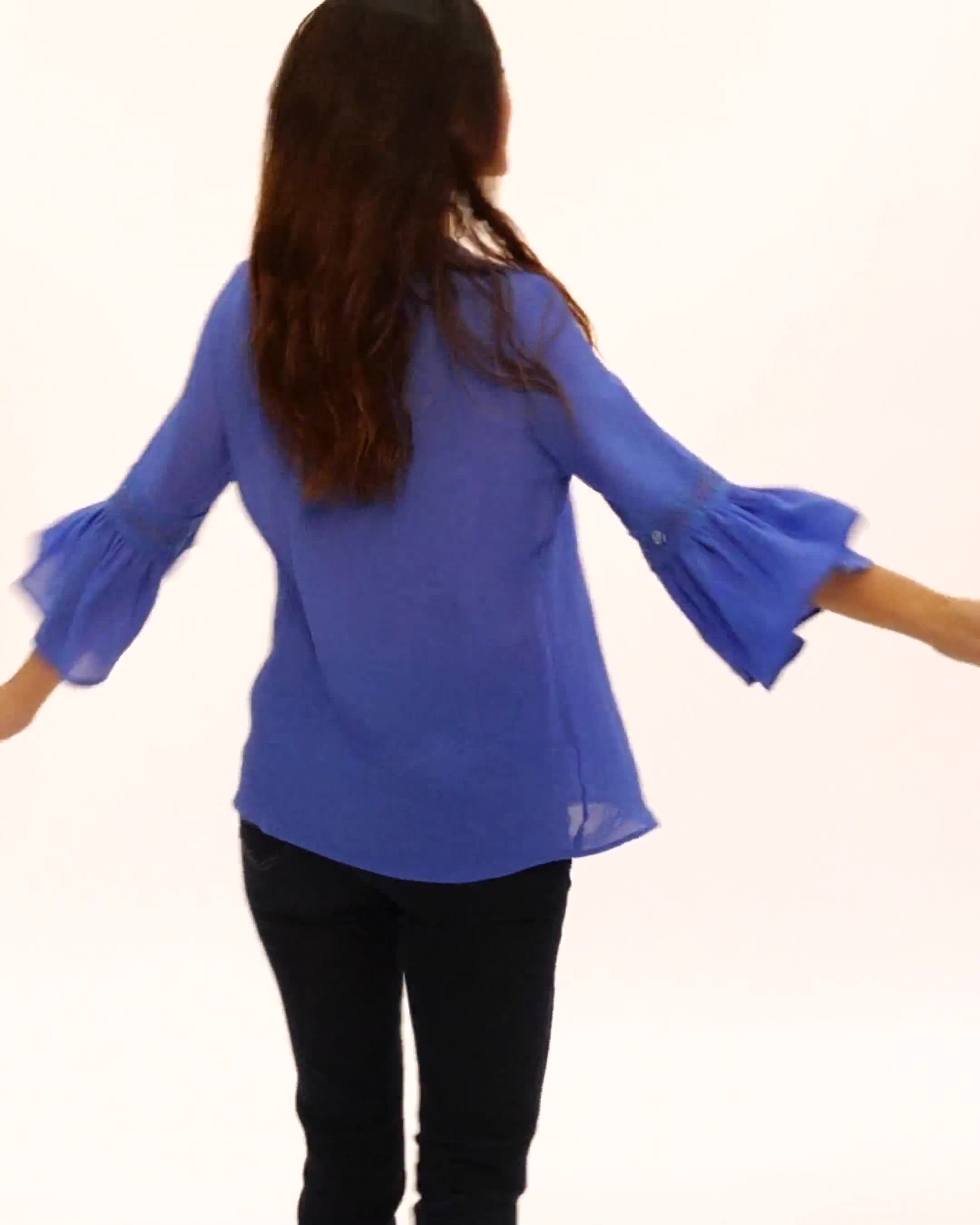 V-Neck Crochet Trim Texture Top - Video