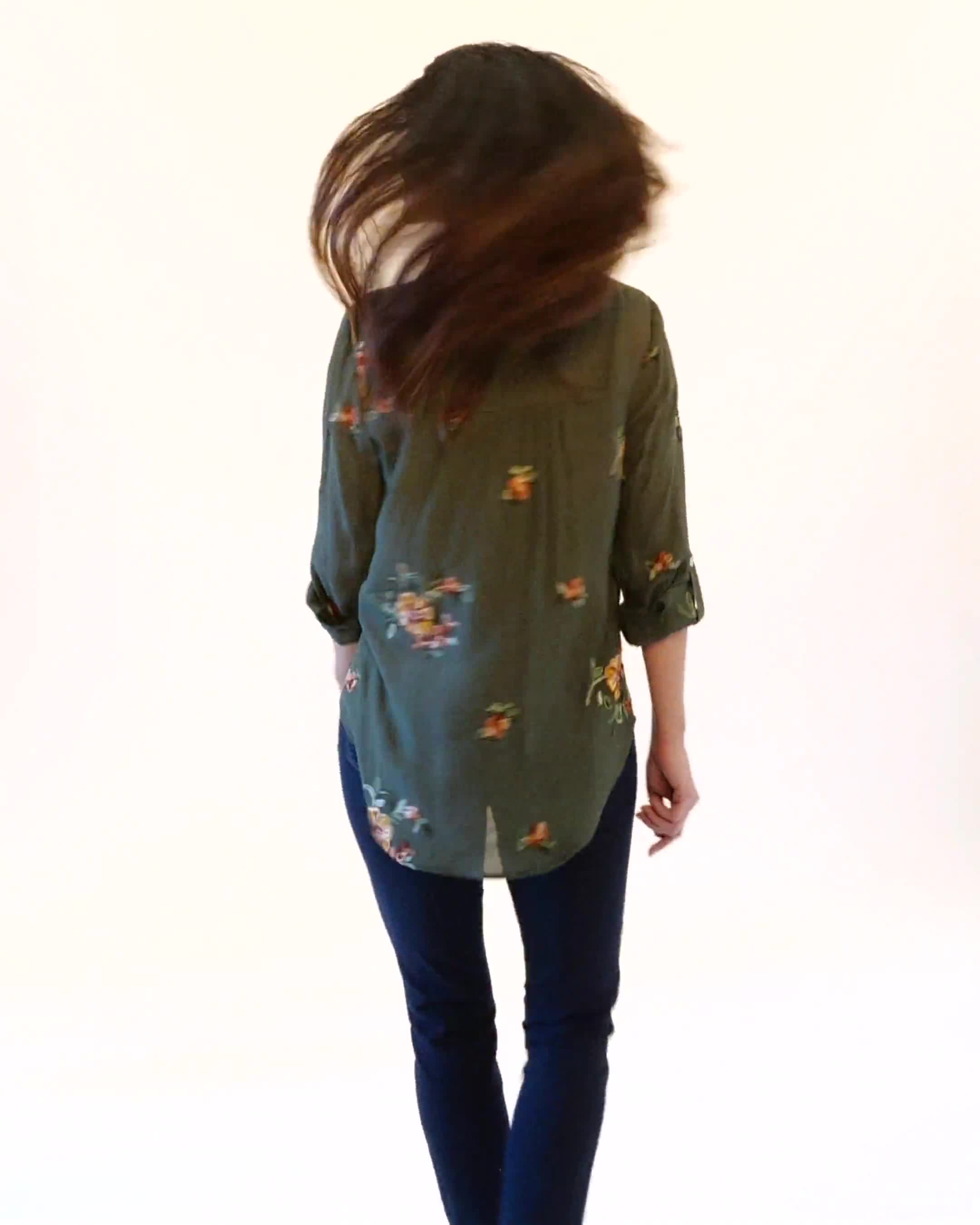 Embroidered Button Front Shirt - Video