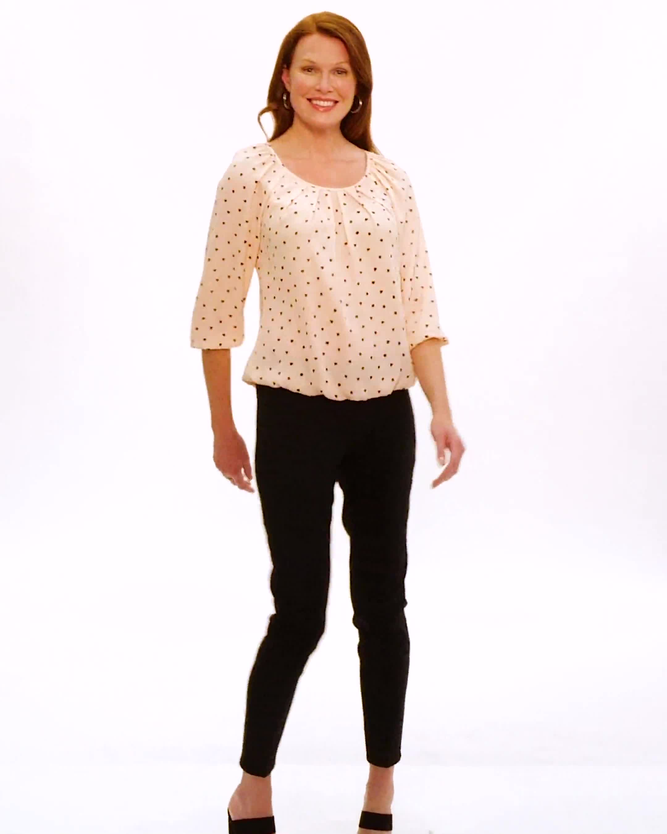 Heart Print Pleat Neck Blouse - Video