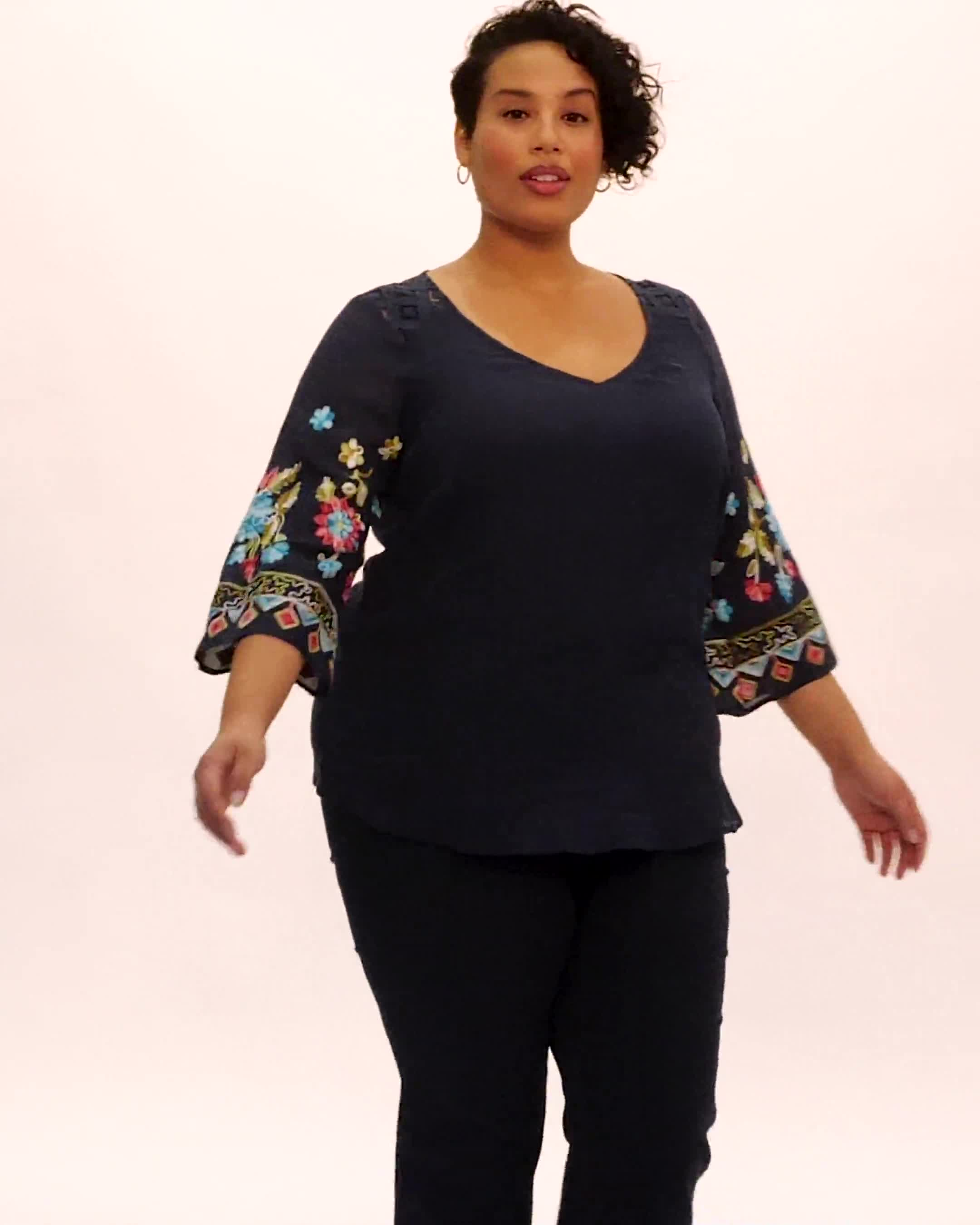 Embroidered Sleeve Texture Blouse - Video