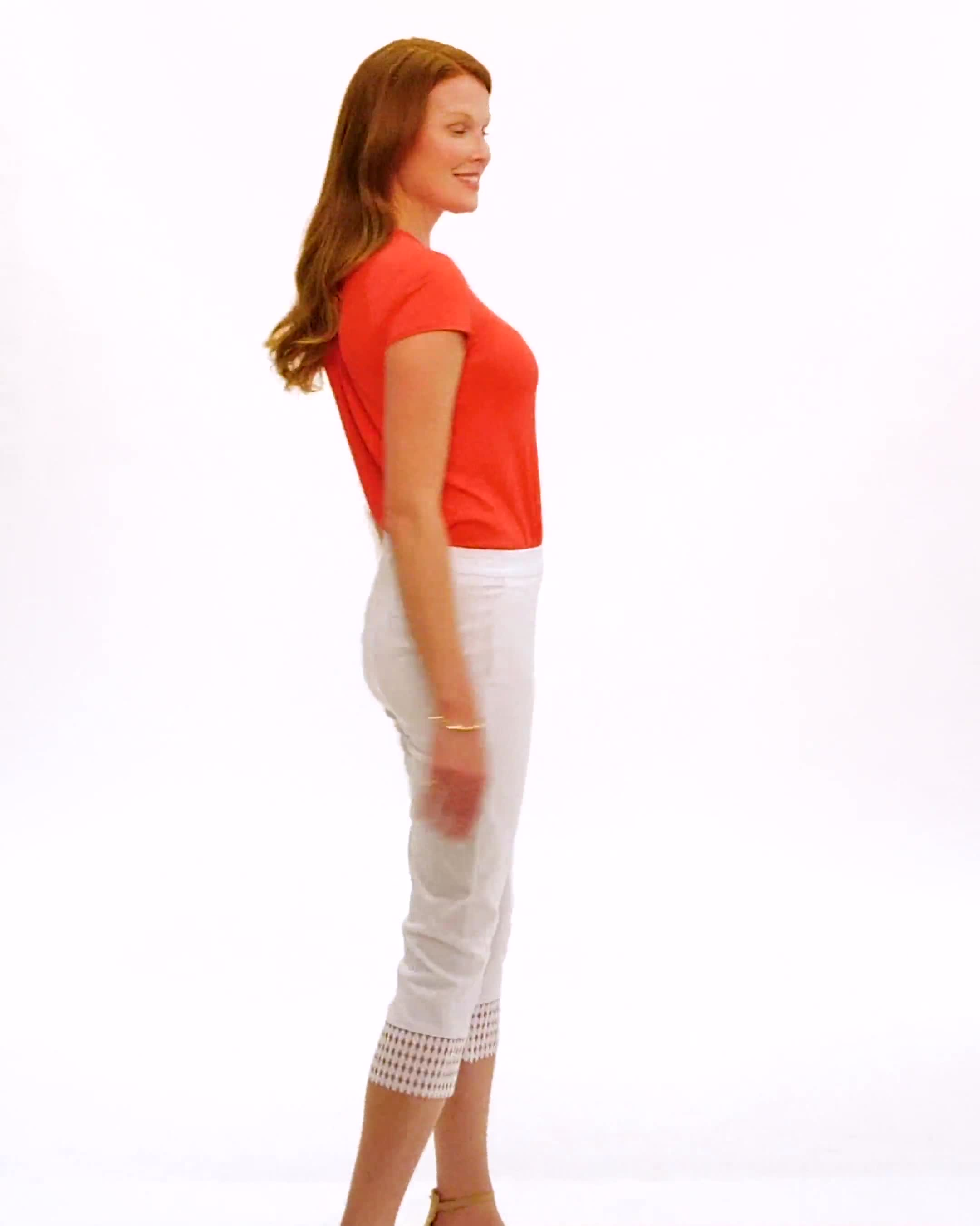 Pull-On Crop Pants with Crotchet Hem Detail - Video