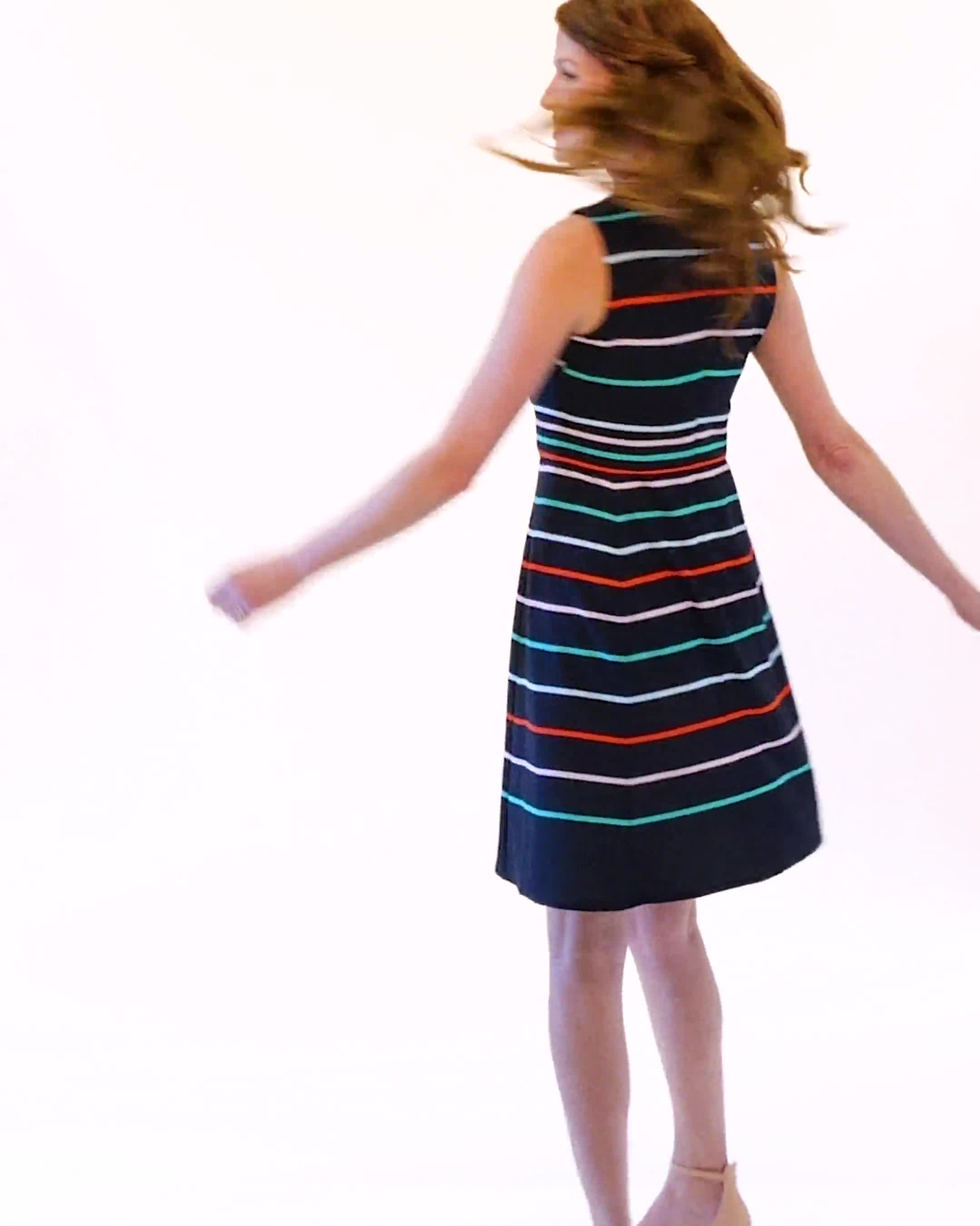 Stripe Fit and Flare Scuba Dress - Video