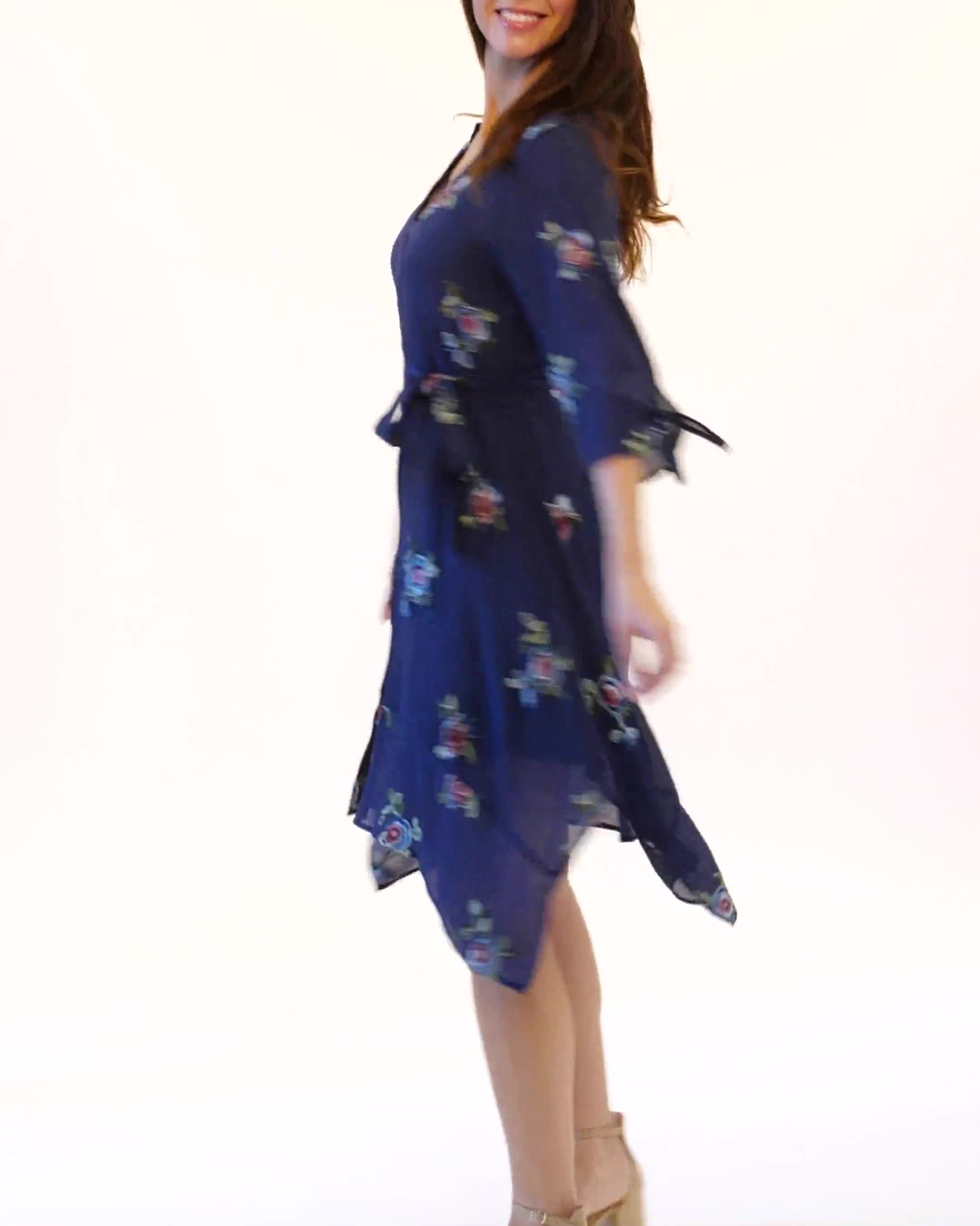 Tie Sleeve Embroidered Texture Shirt Dress - Video