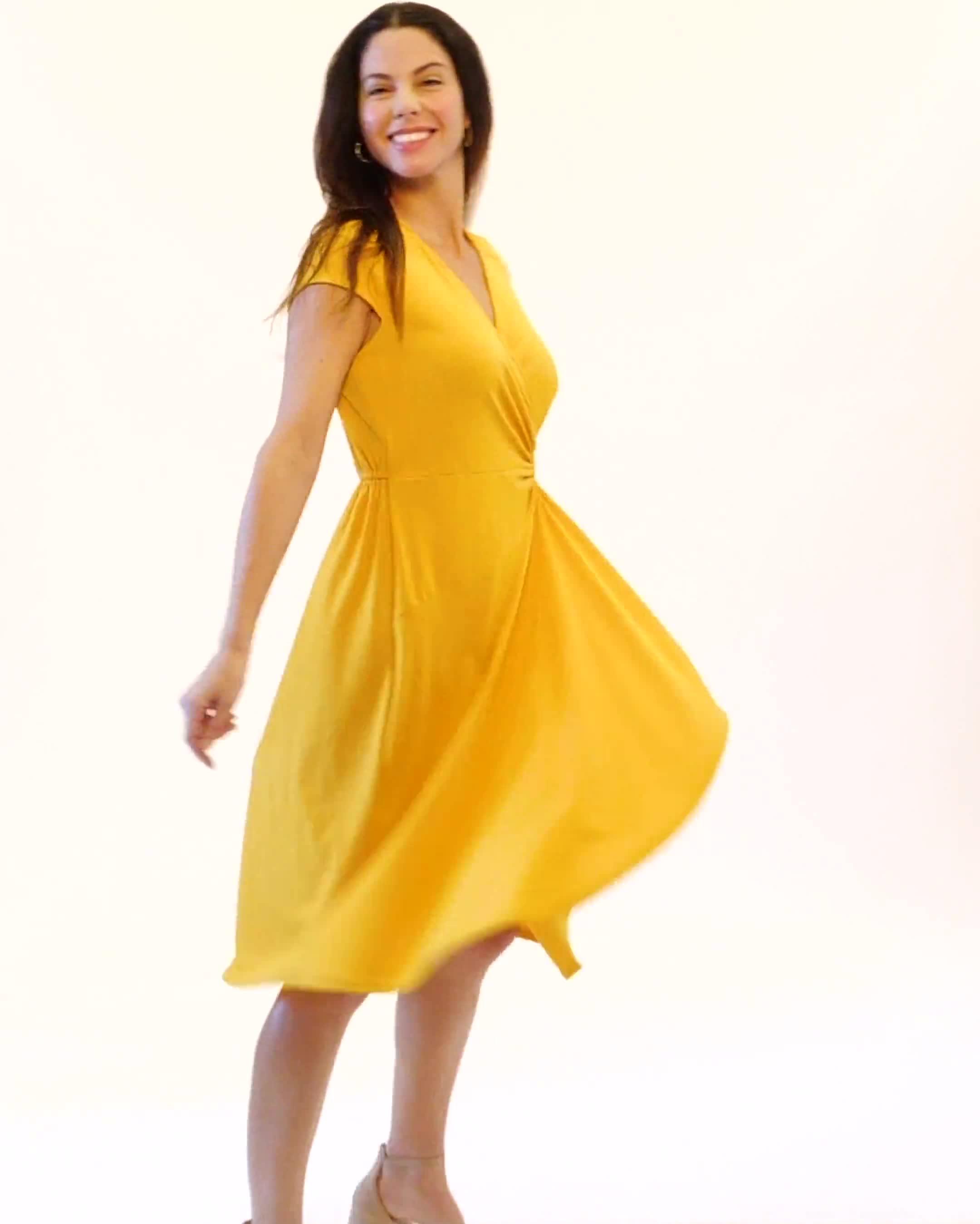 Faux Wrap Knit Crepe Dress - Video