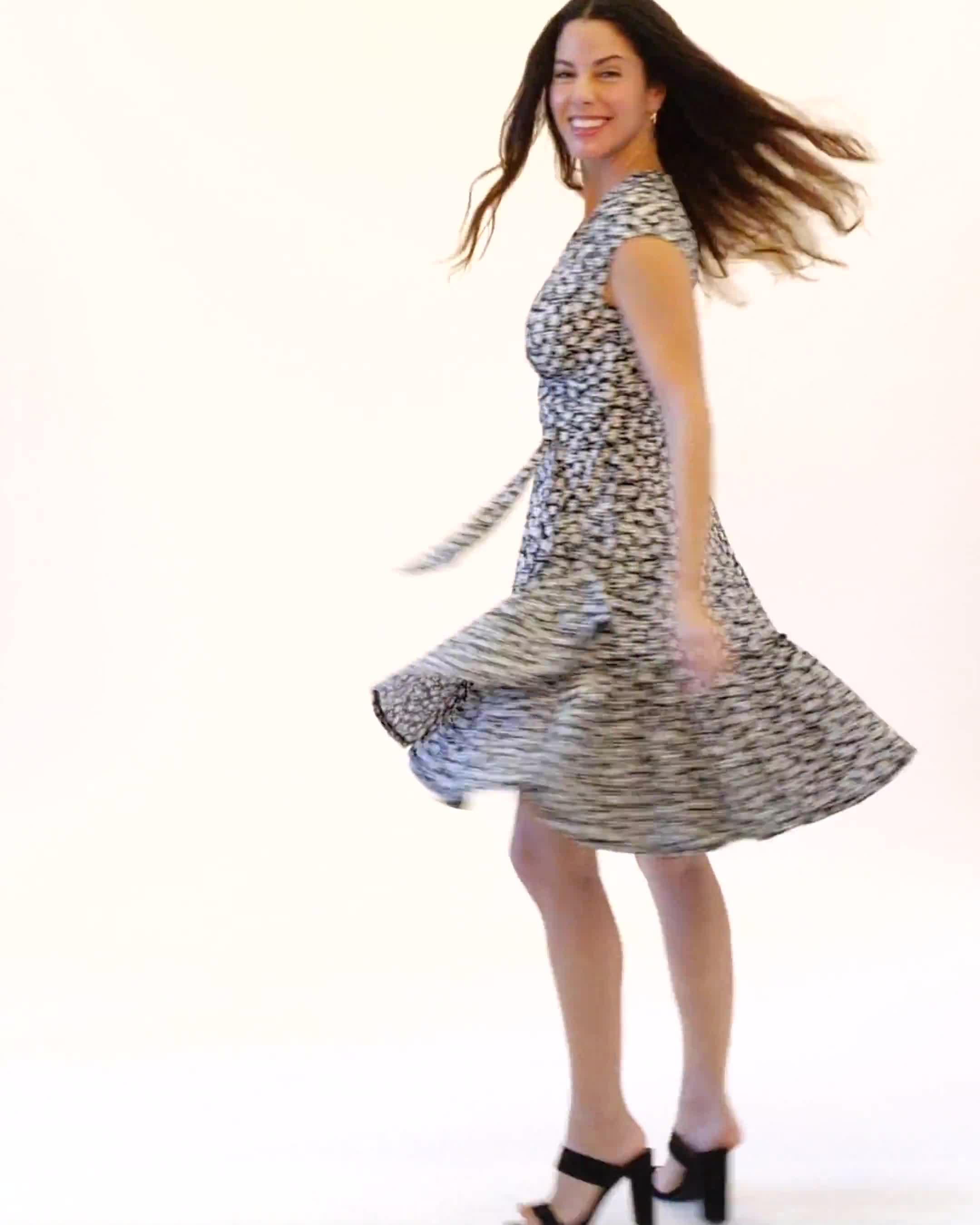 Faux Wrap Ruffle Hem Dress - Video