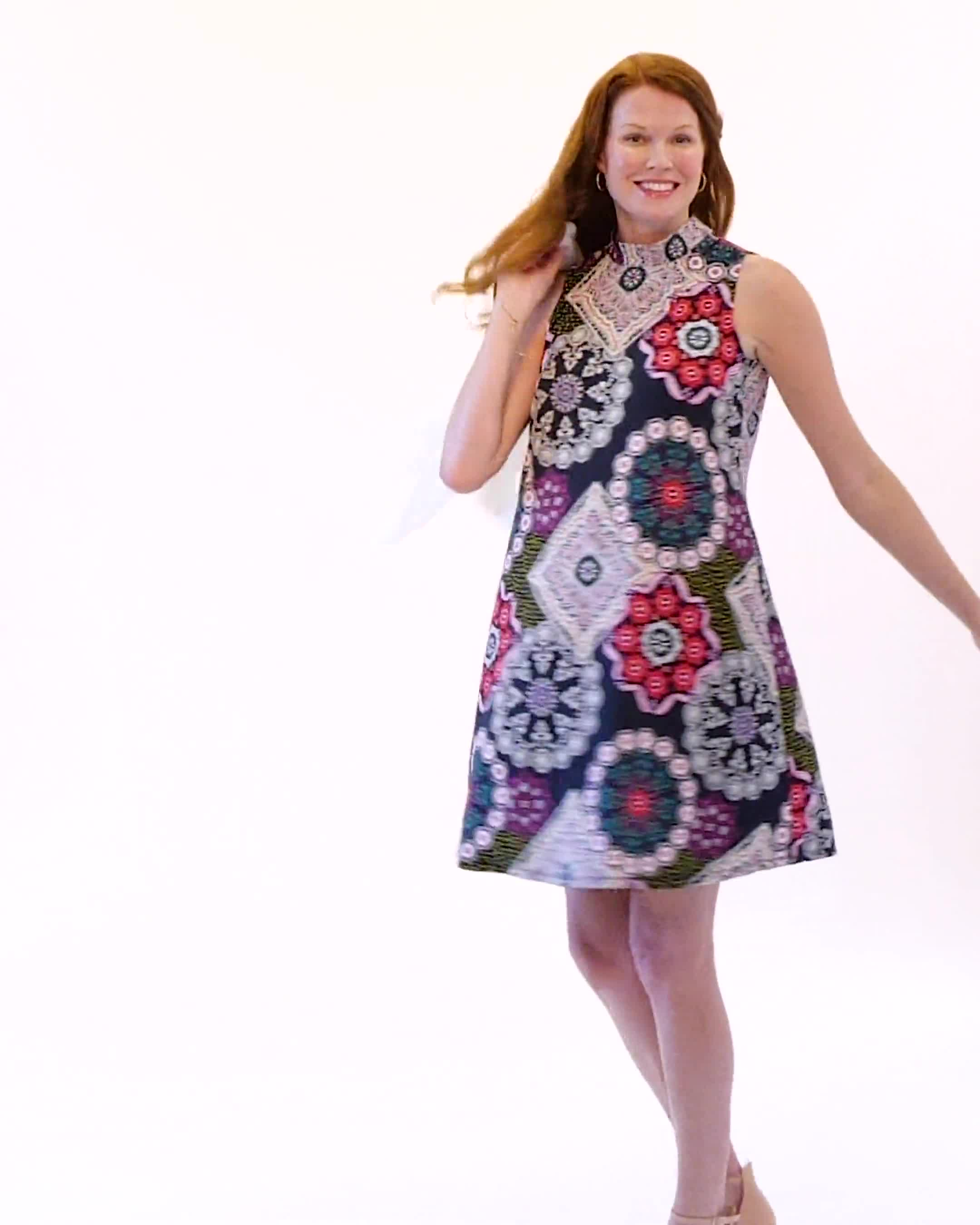 Medallion Puff Print Swing Dress - Video