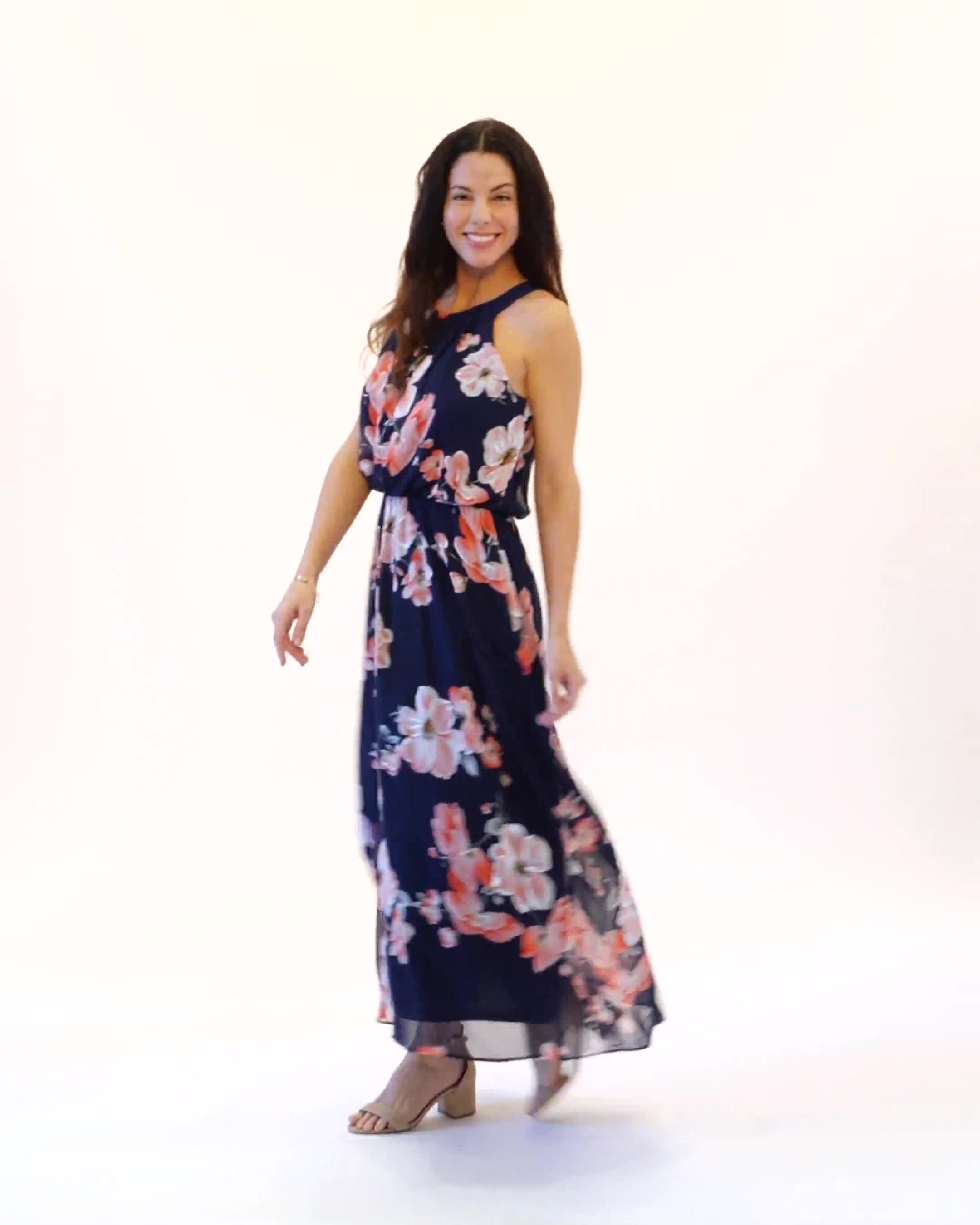 Floral Chiffon Elastic Waist Maxi Dress - Video