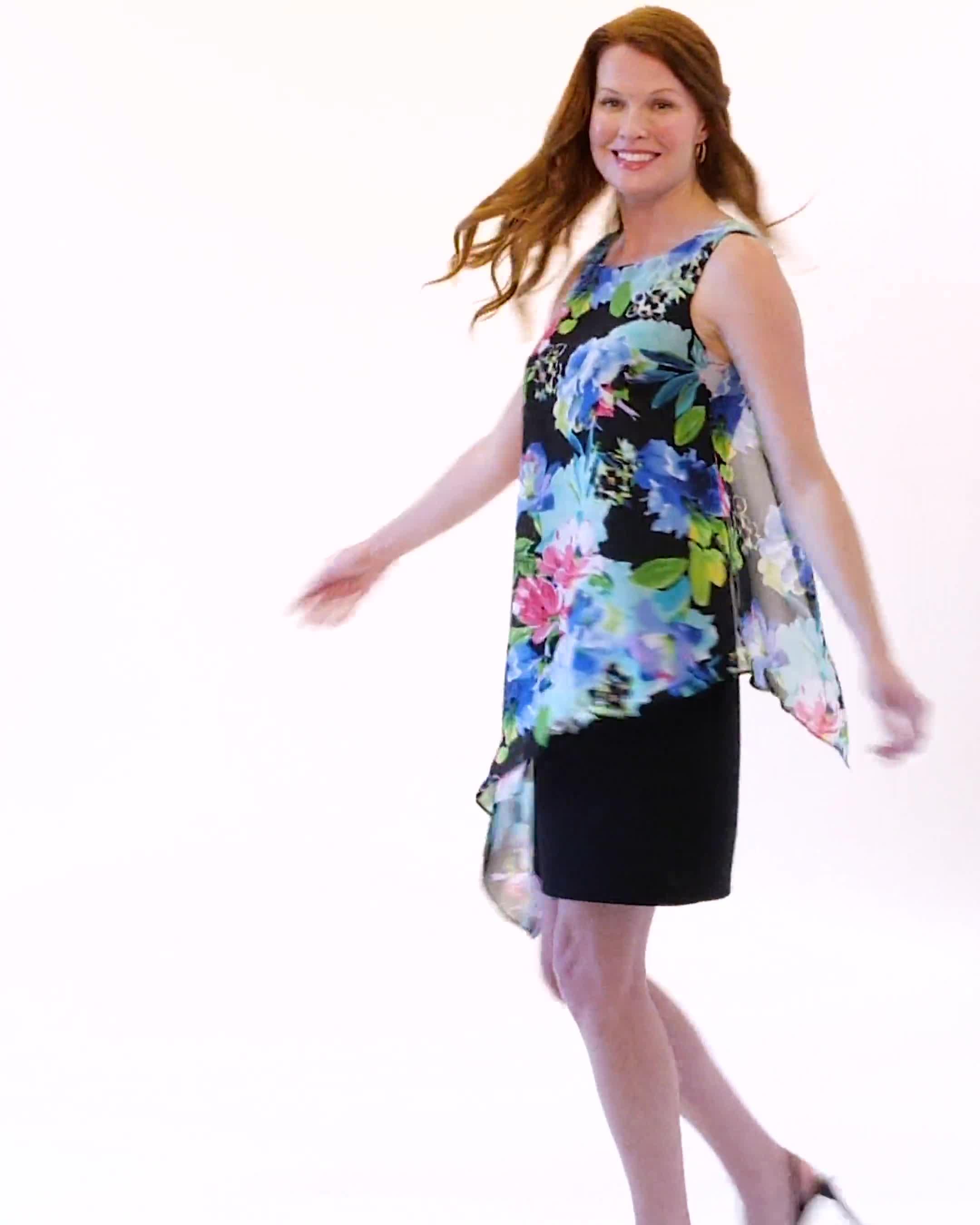 Asymmetrical Floral Chiffon Overlay Dress - Video