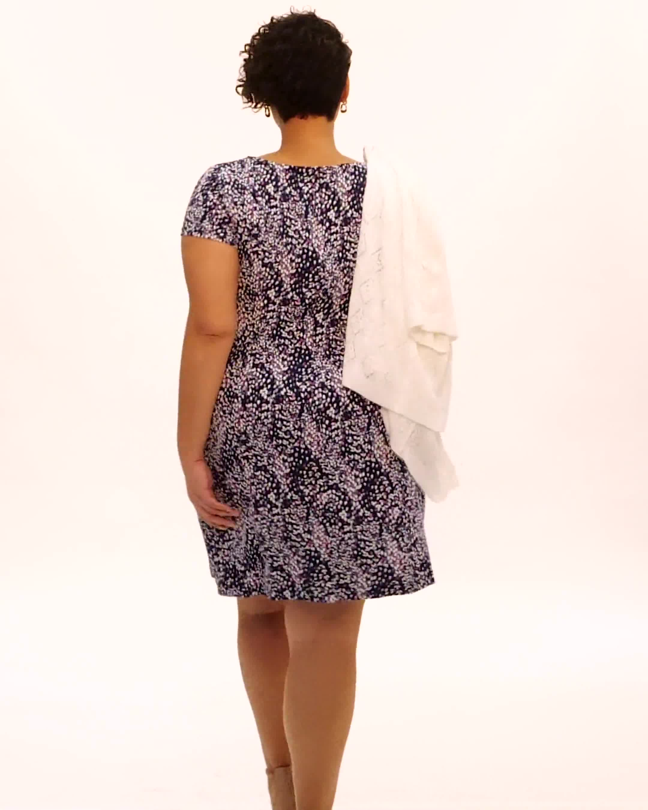 Fit and Flare Puff Print with Pockets Dress - Video