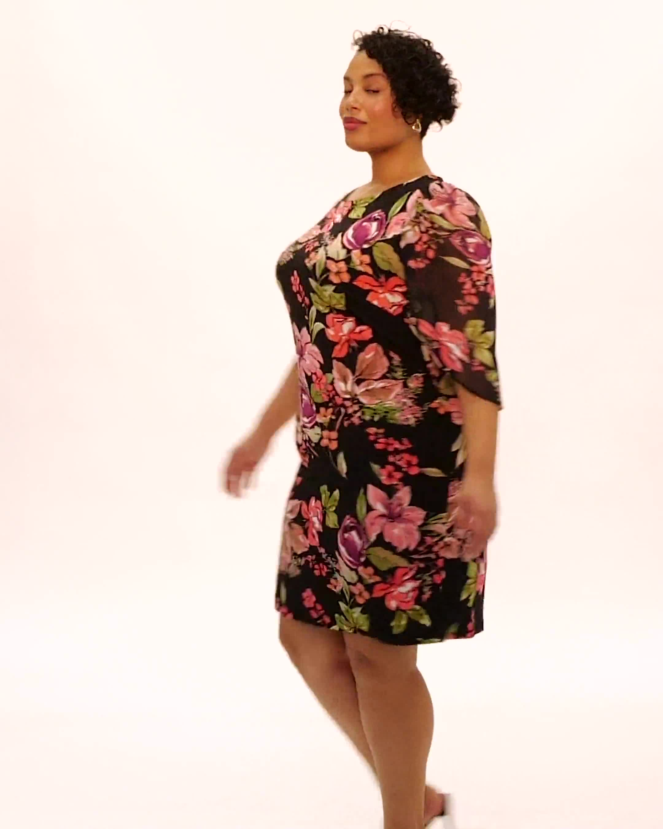 Floral Knit Dress with Chiffon Sleeves - Video