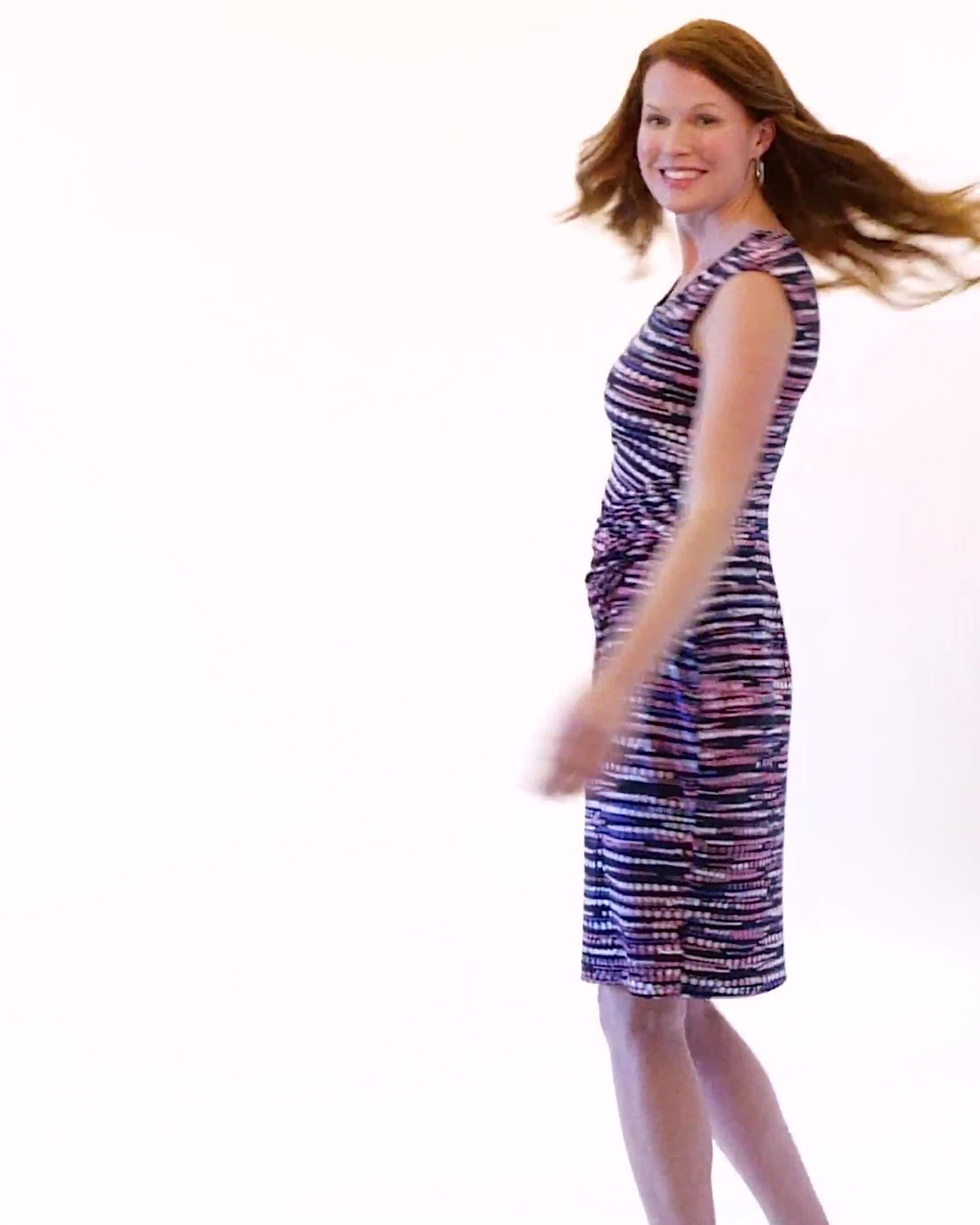 Multi Dot Side Pintuck Dress - Video