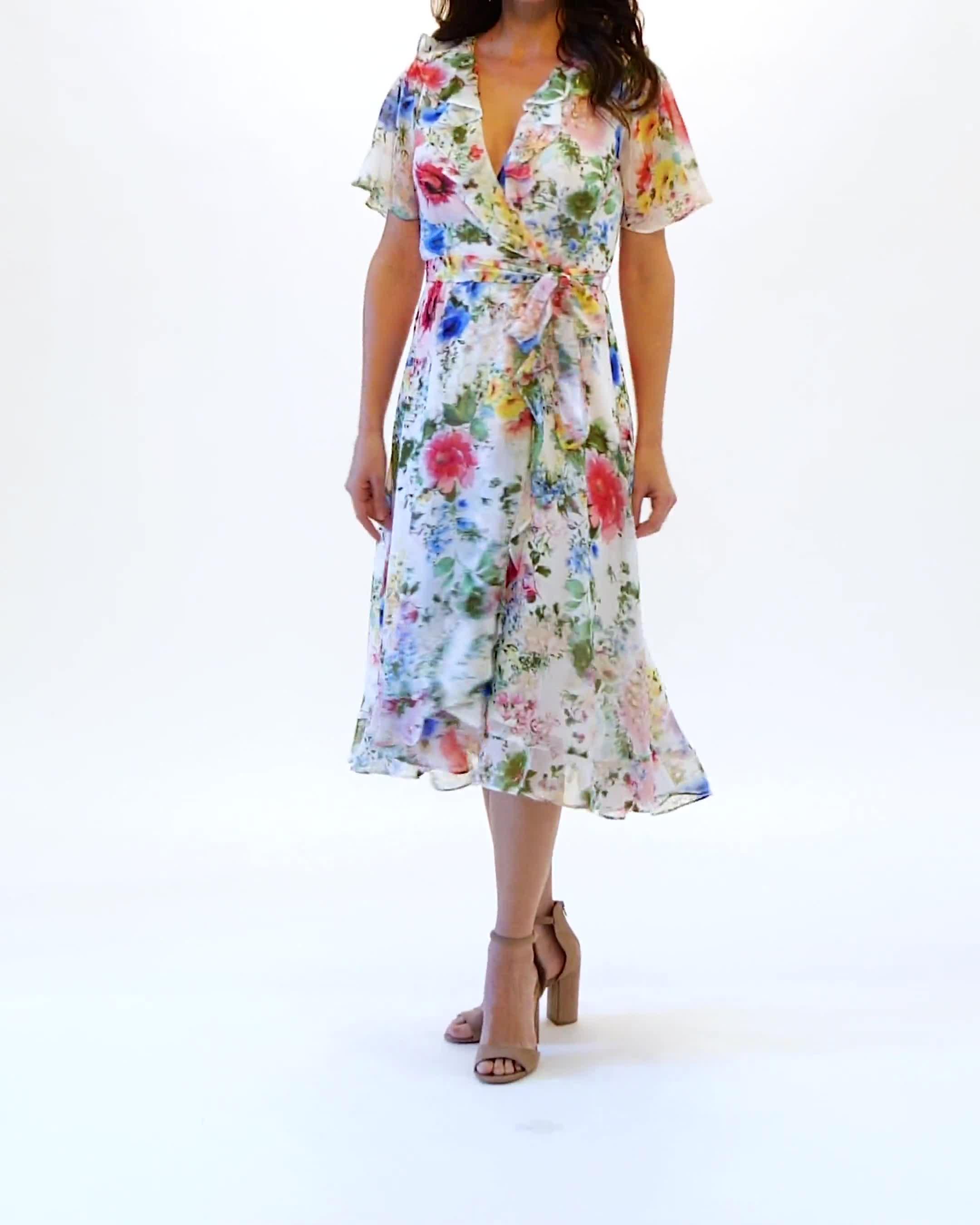 Floral Chiffon Wrap Ruffle Dress - Video