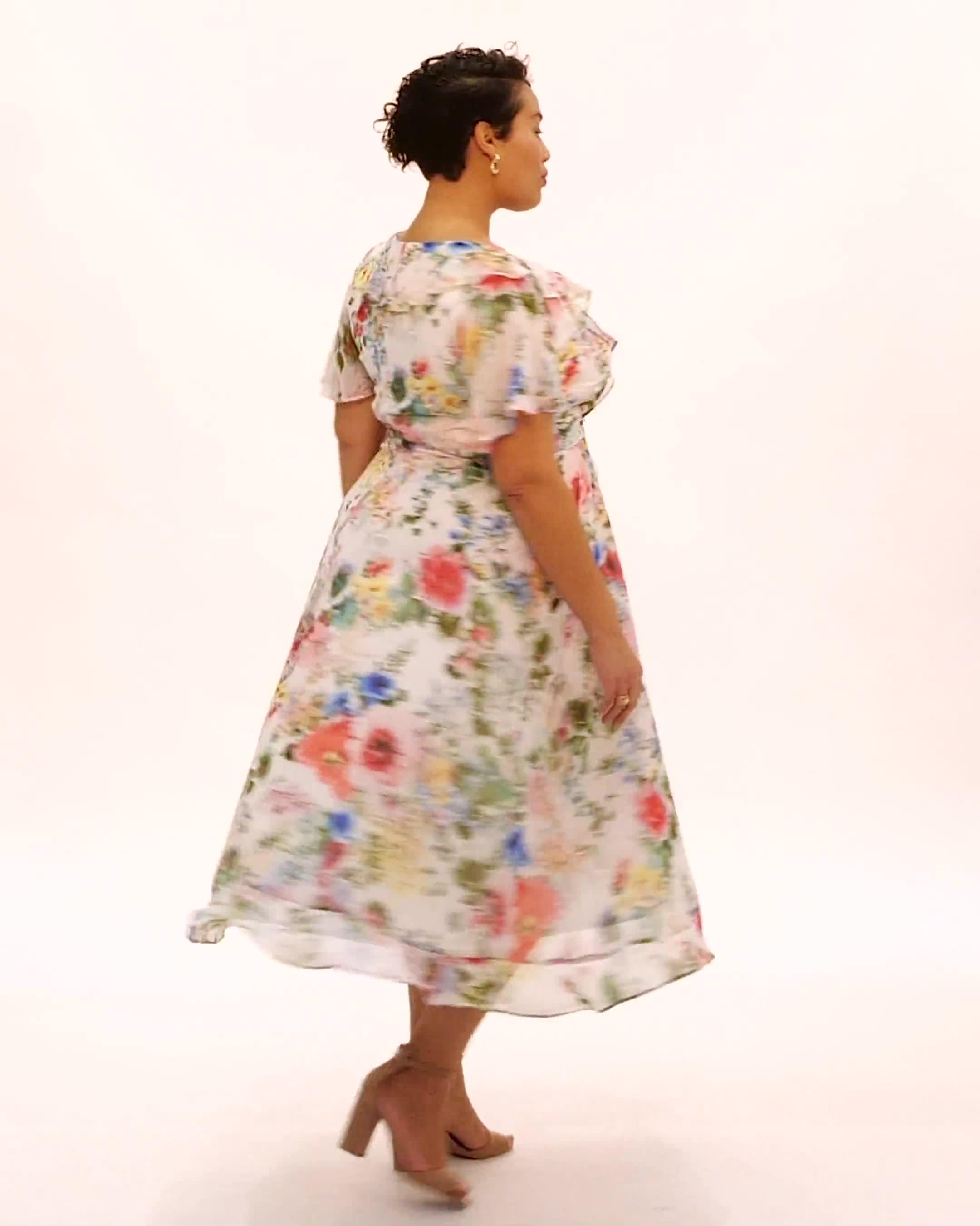 Floral Chiffon Wrap Ruffle Dress - Plus - Video