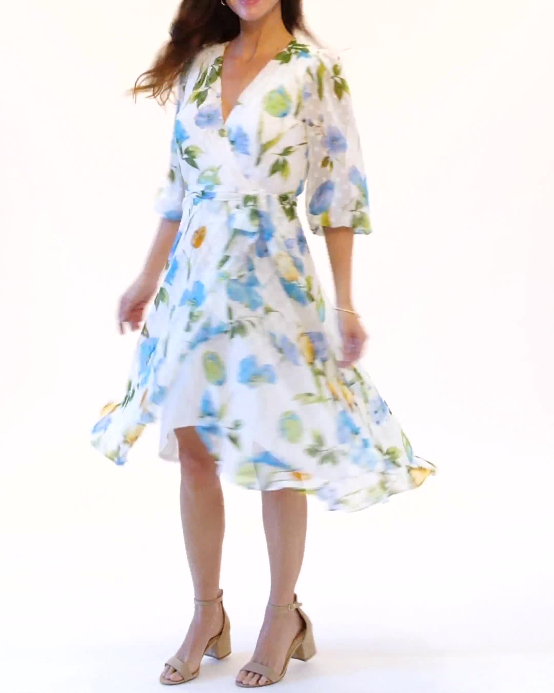 Jacquard Chiffon Wrap Ruffle Hem Dress - Video