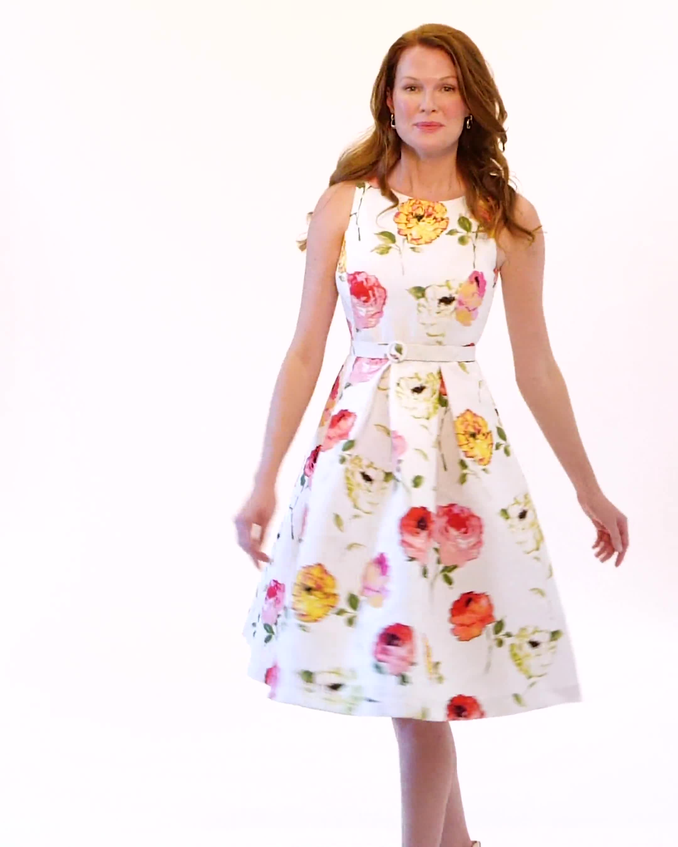 Jacquard Box Pleat Belted Dress with Pockets - Video