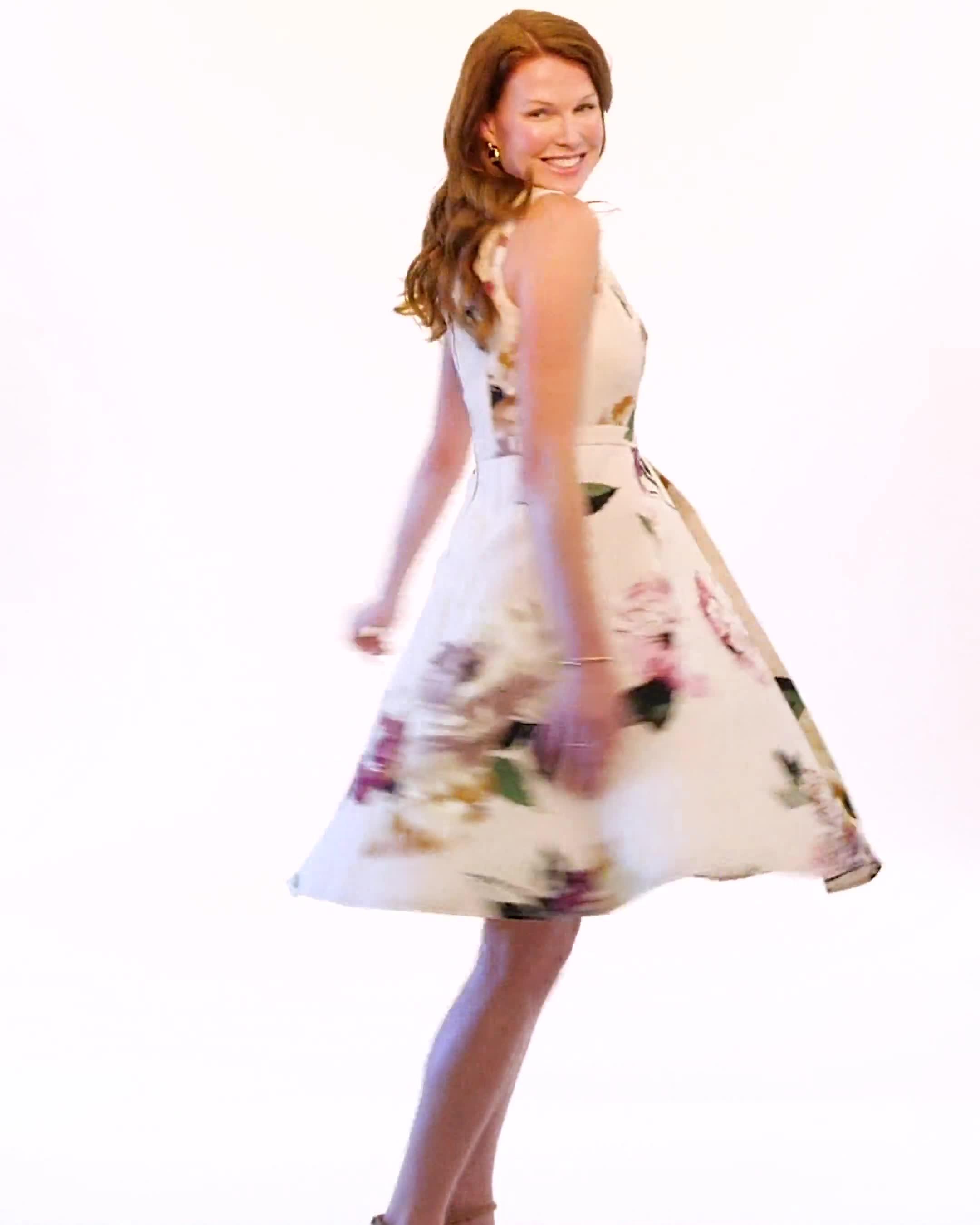 Jacquard Box Pleat Floral Dress - Video