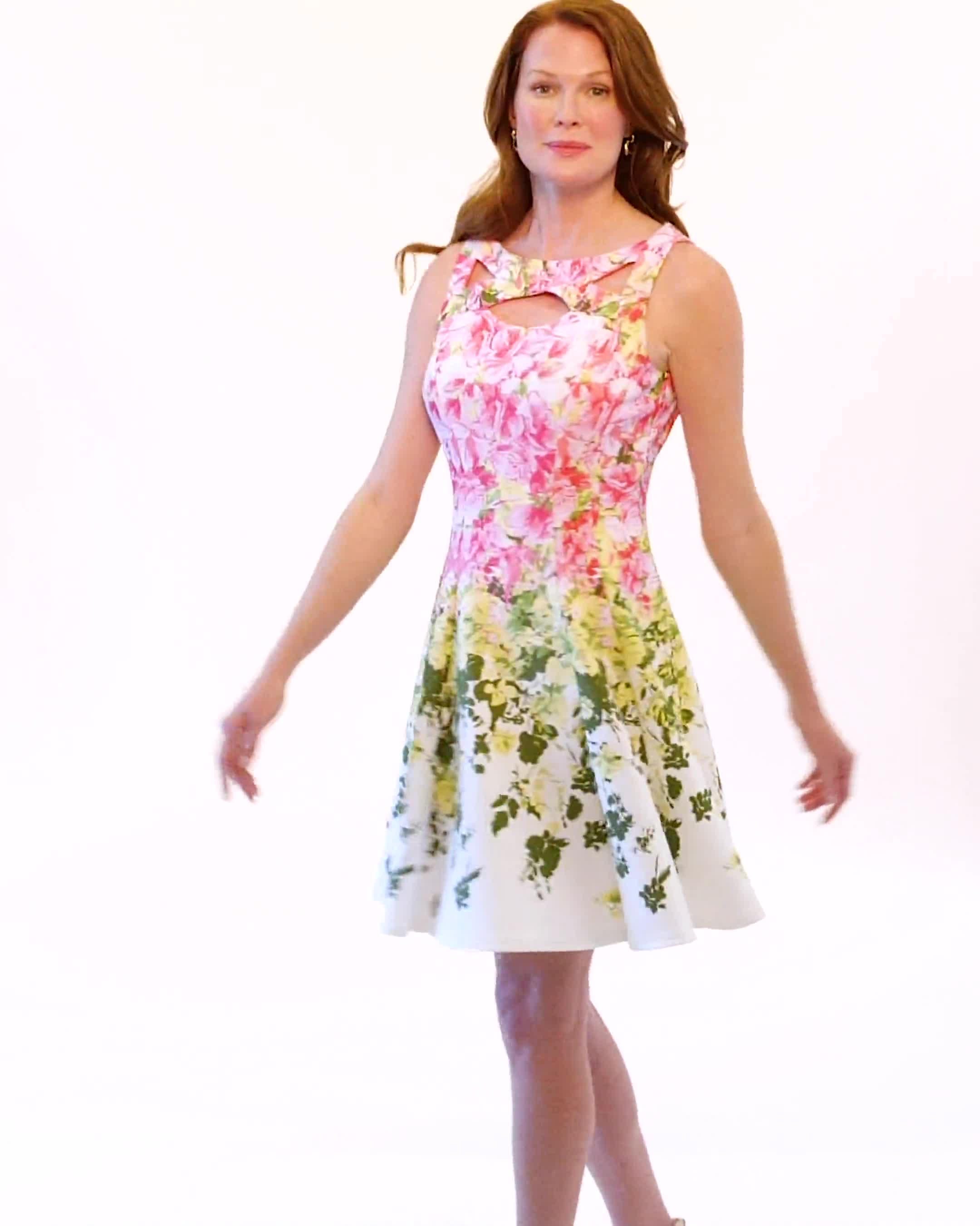 Cutout Neck Scuba Fit and Flare Dress - Video