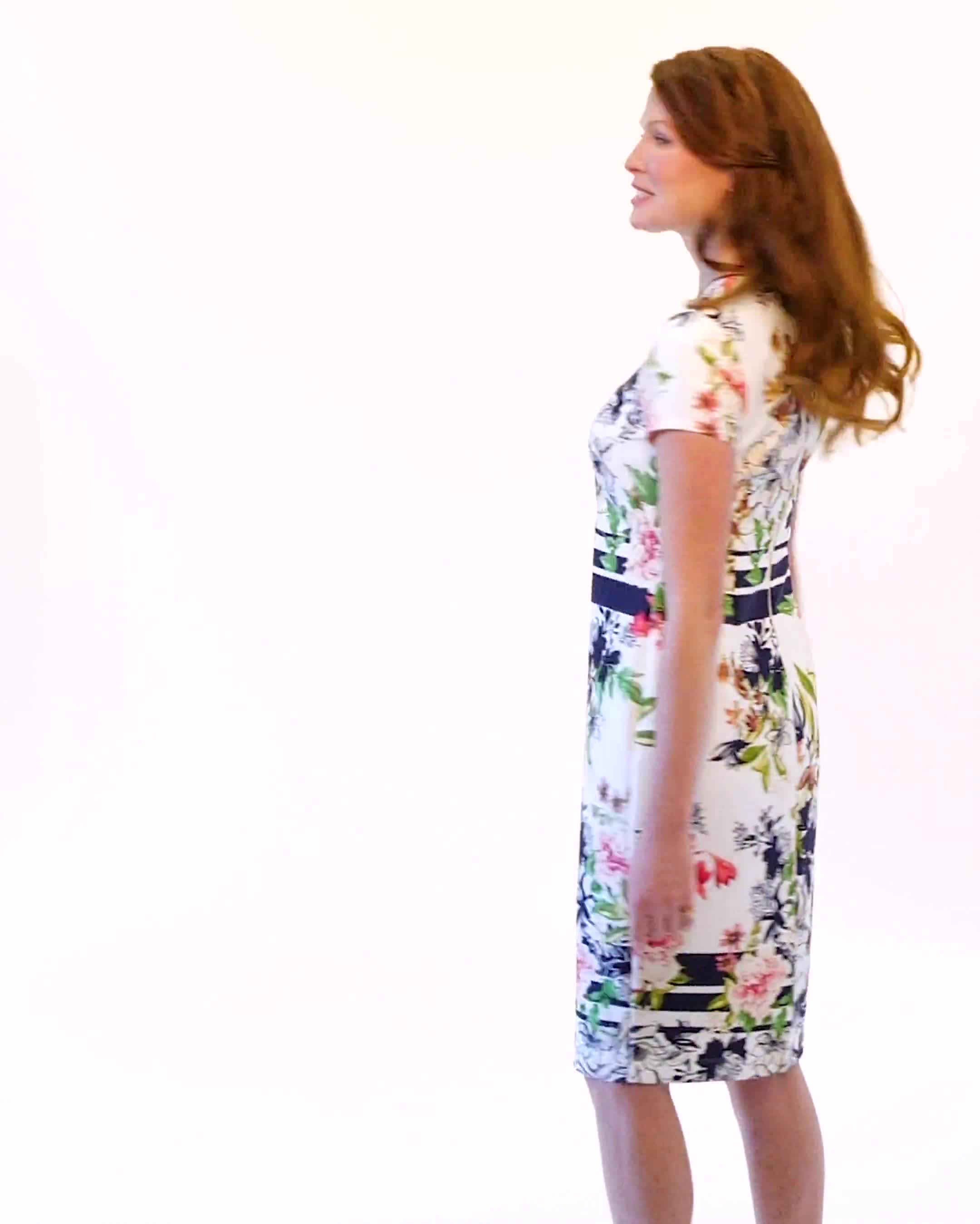 Cutout Neck Floral Scuba Dress - Video