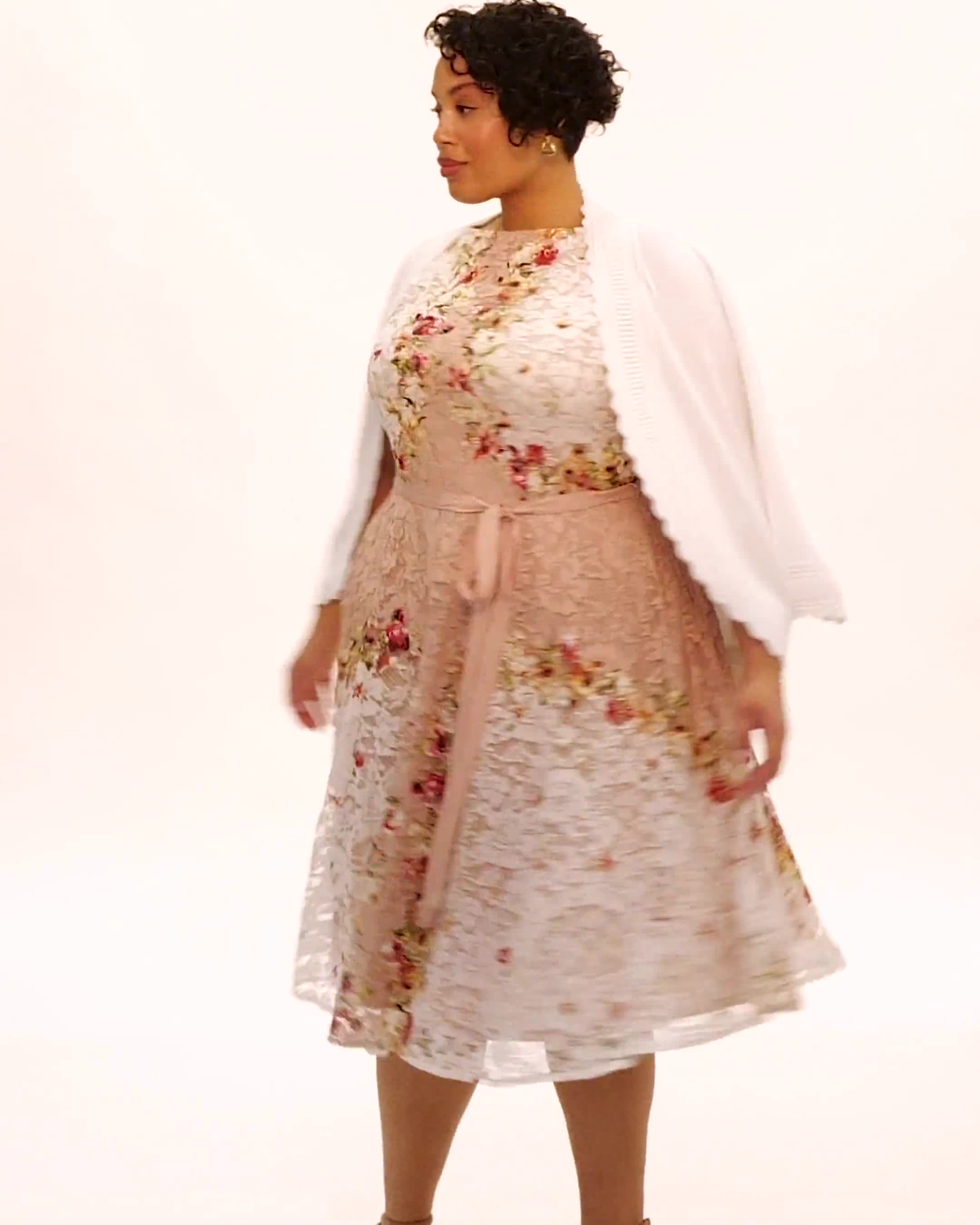 Printed Lace Dress with Grosgrain Ribbon Belt - Video