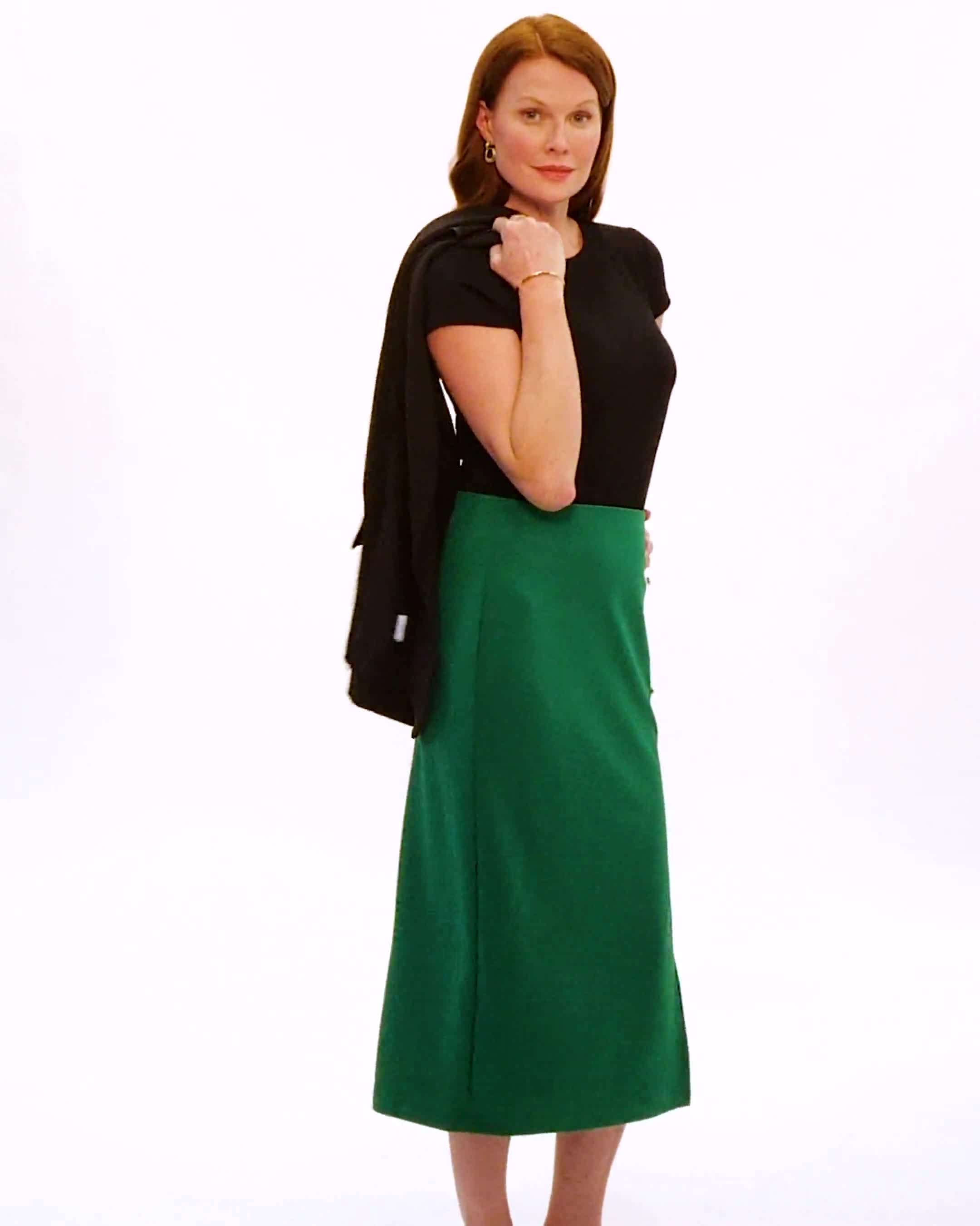 Side Slit Pull-On Pencil Skirt with Button Detail - Video