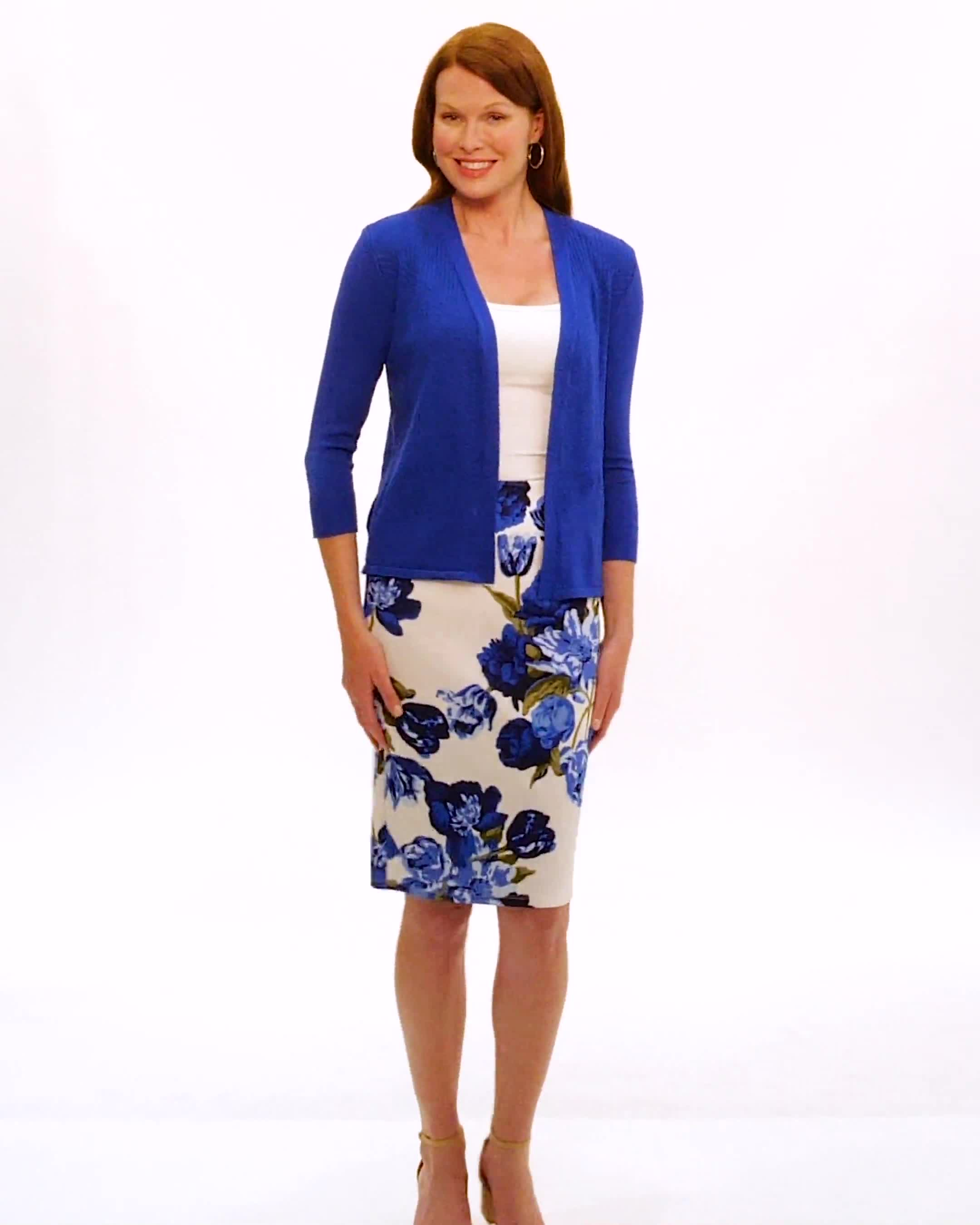 Pull-On Floral Print Slim Skirt - Video
