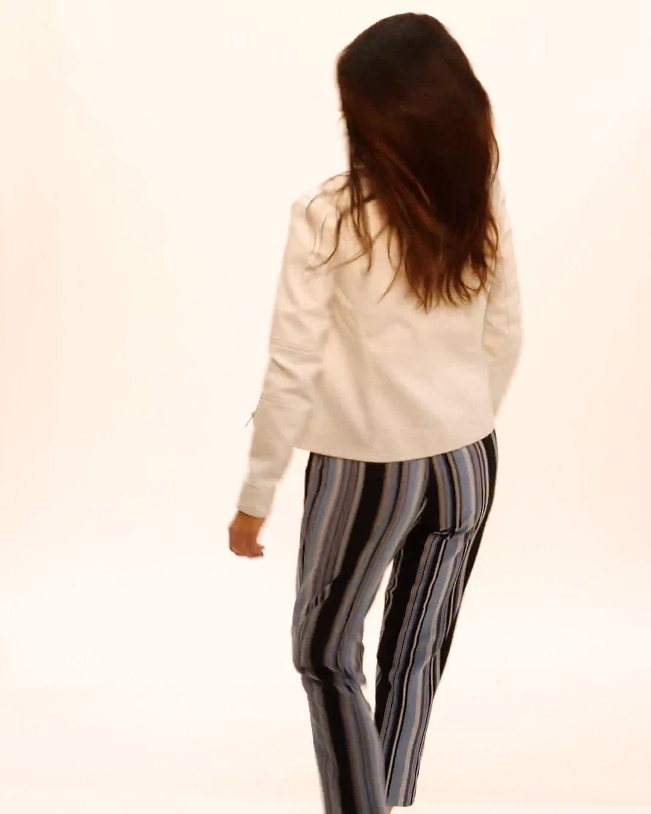 Faux Leather Zip Front Jacket - Video