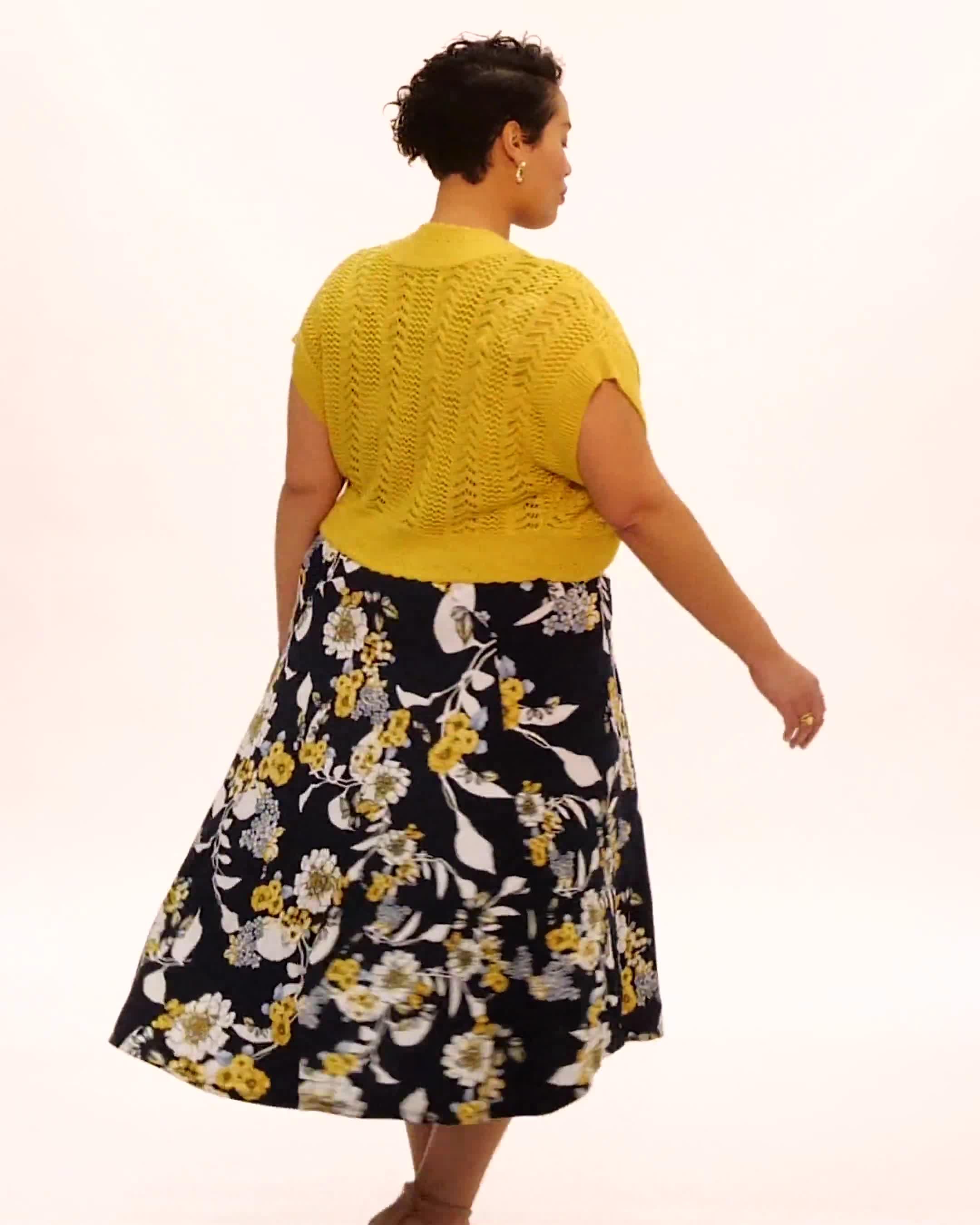 Crochet Sweater Drape Neck Floral Dress - Video