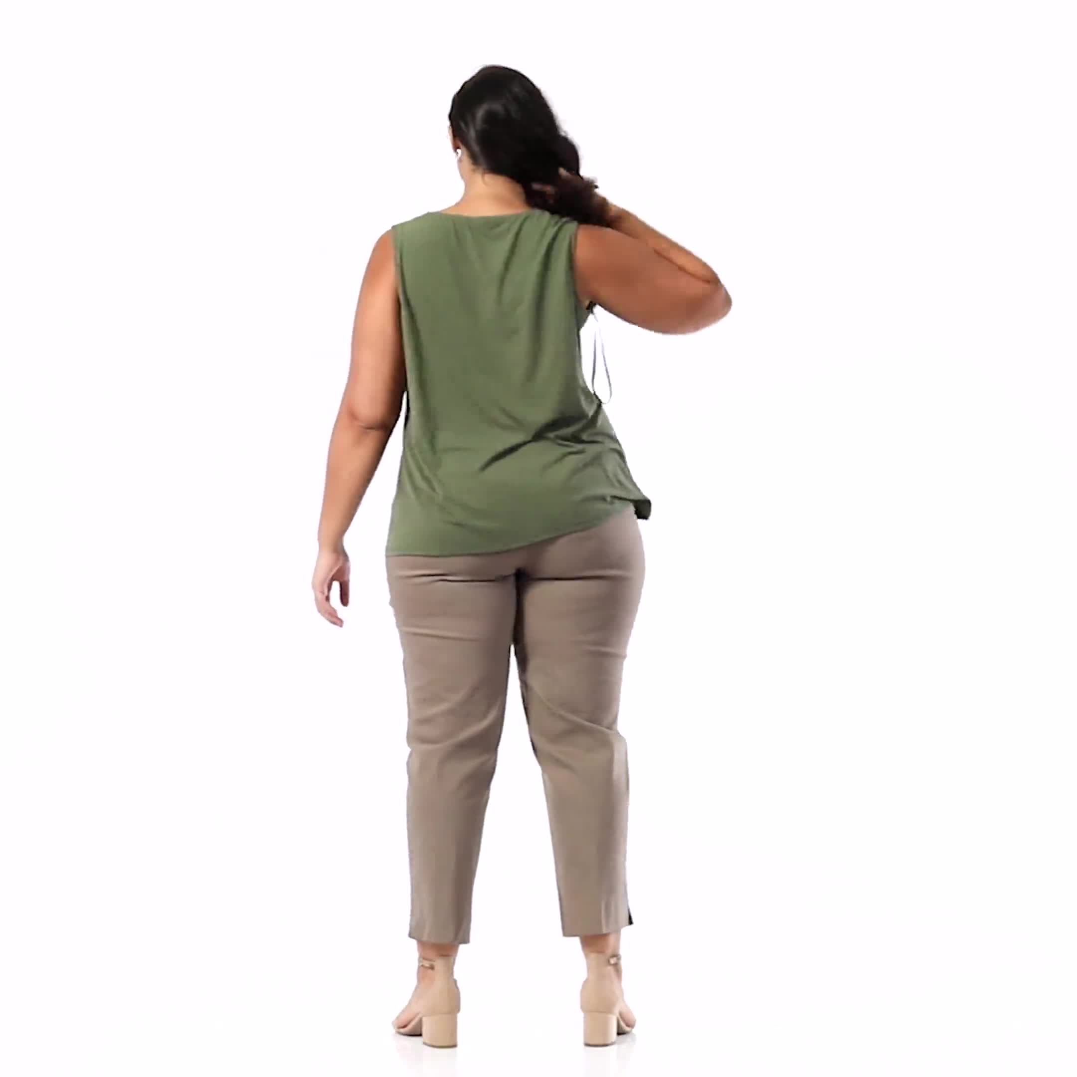 Roz & Ali Crochet Trim Crepe Hi/Lo Knit Top - Plus - Video