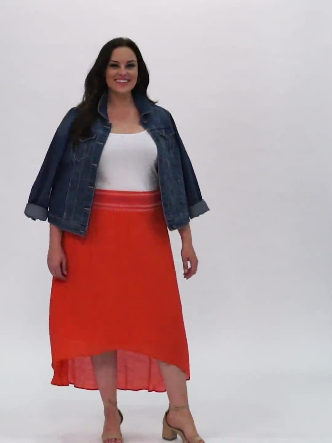 Textured Pull on Hi Lo Hem Skirt - Video