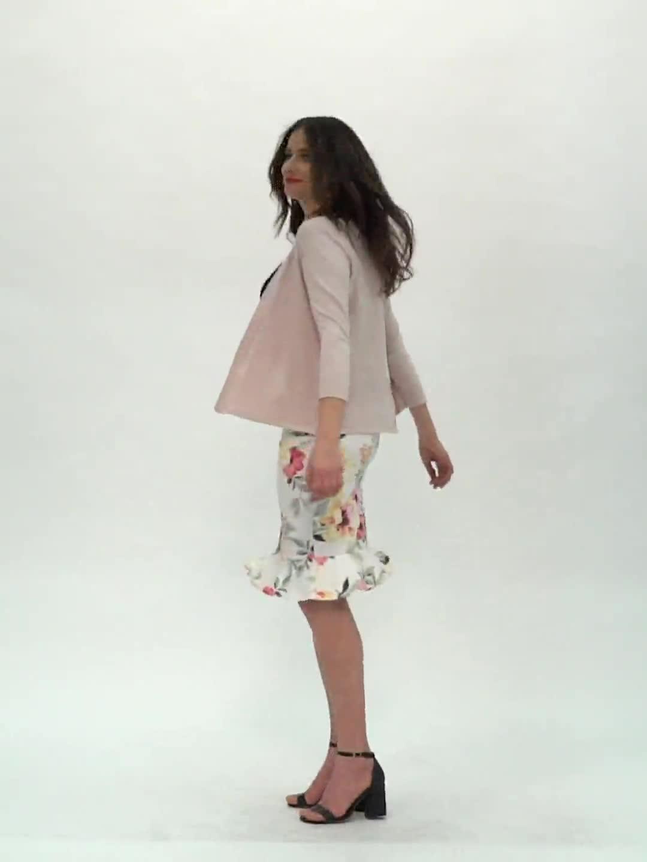 Scuba Crepe Flounce Hem Skirt - Floral Print - Video