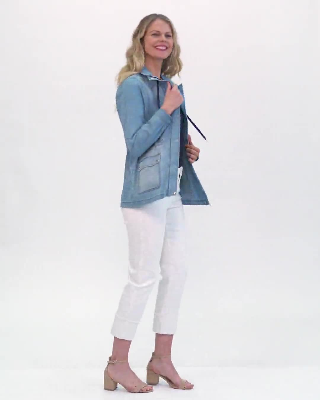 Denim Utility Jacket With Flap Pockets and Hidden Waist Drawcord - Video