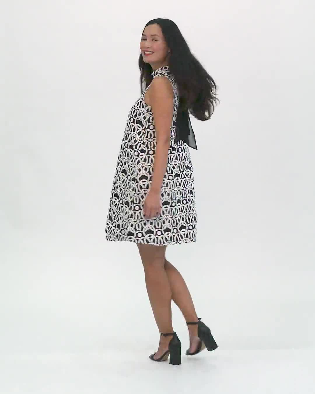 Mock Neck Linking Circles Print Puff ITY Dress - Video