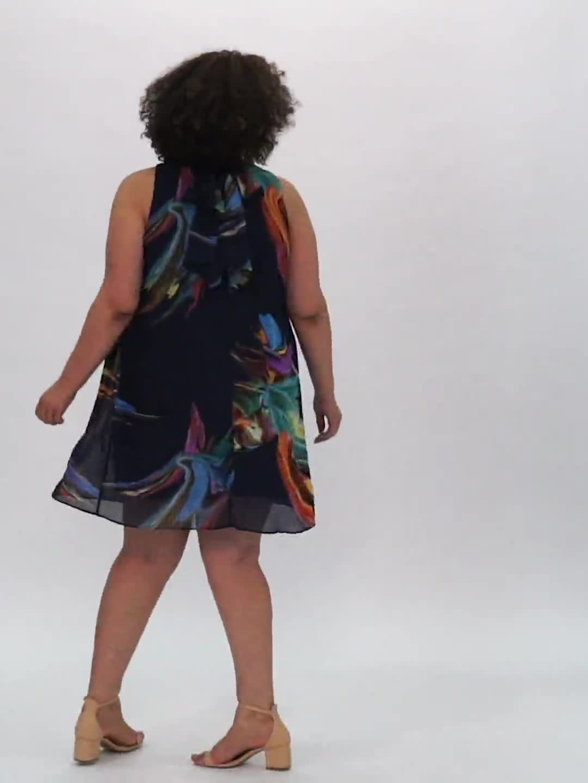Sleeveless Chiffon Brush Stroke Mock Neck Dress - Video