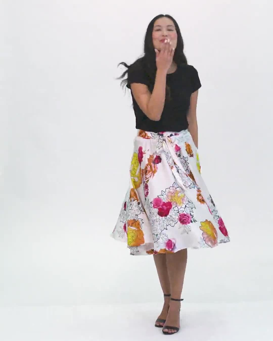 Printed Floral Skirt with All Around Elastic Waist and Tie - Video