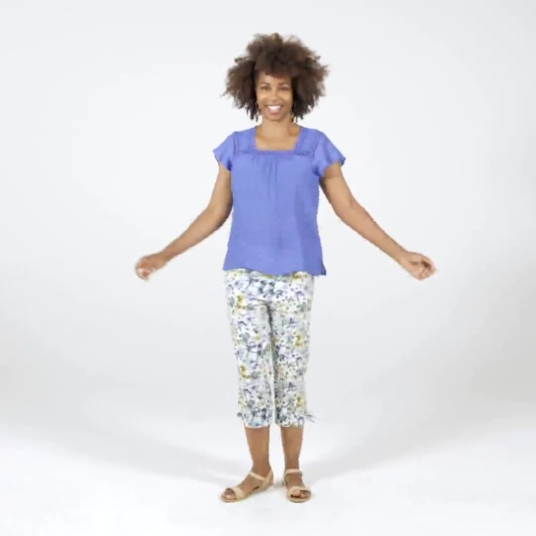 Printed Pull on Pants Tie Hem Capri - Video