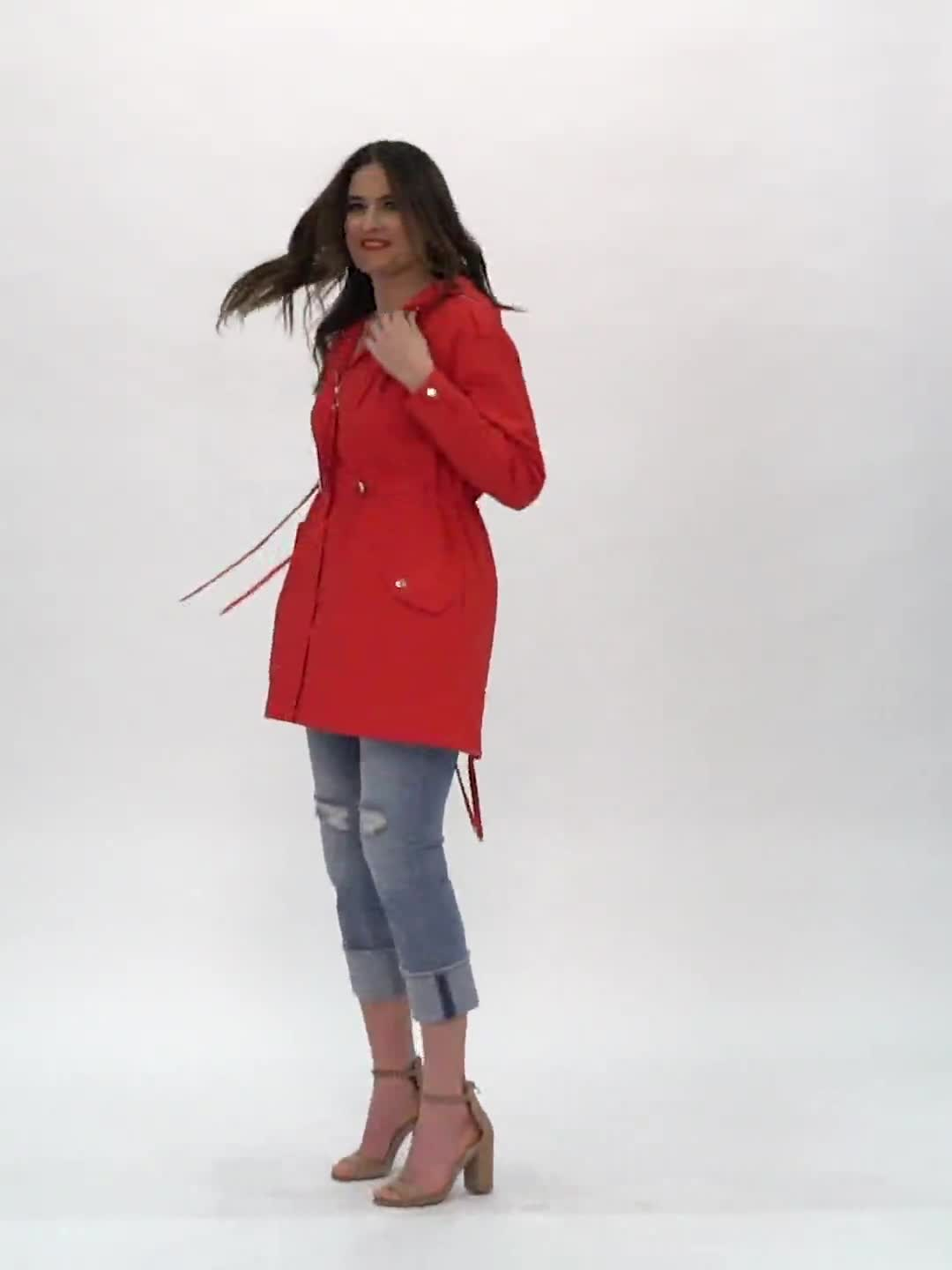 Hooded Zip Front Utility Jacket with Slant, Waist Drawcord, Chest Zip Pockets - Video