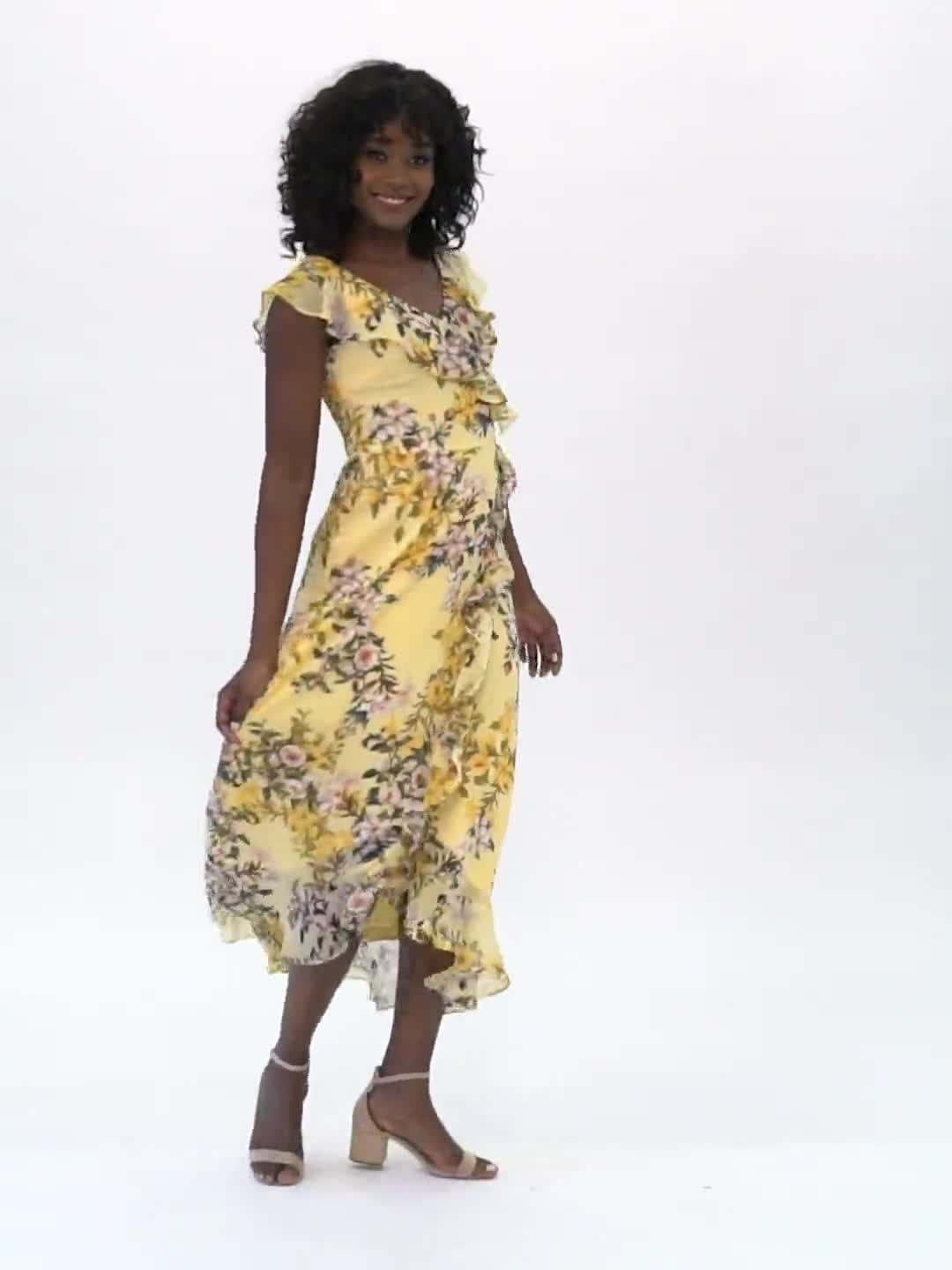 Mock Wrap Floral Chiffon Dress - Video