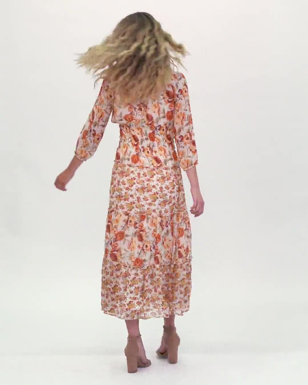 Mixed Ditsy Print Tiered Maxi Peasant Dress - Video