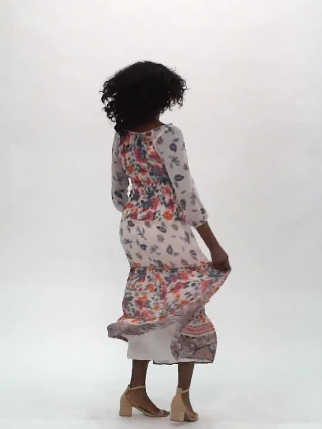 Border Print Tiered Maxi Peasant Dress - Video