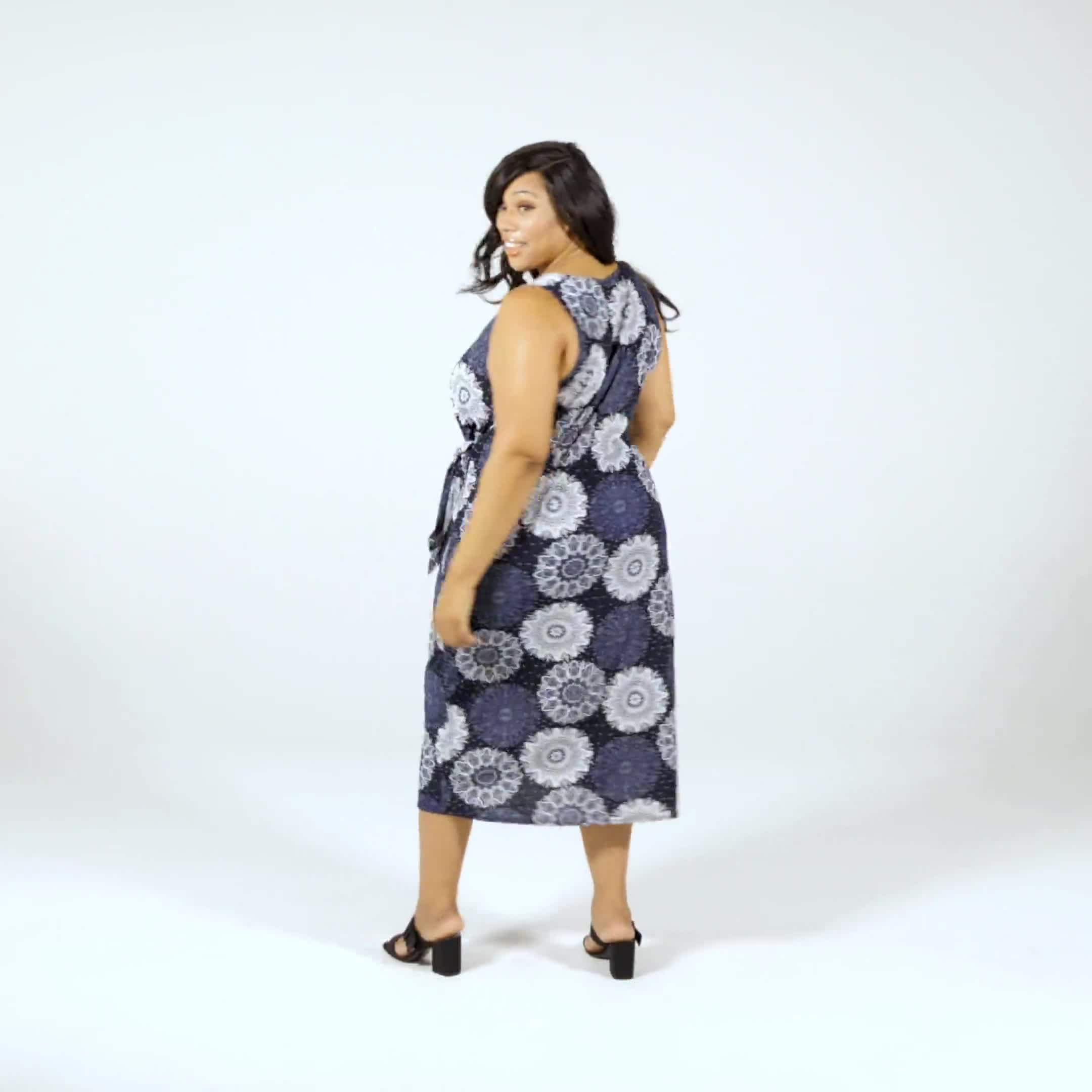 Side Tie Faux Wrap Medallion Dress - Video