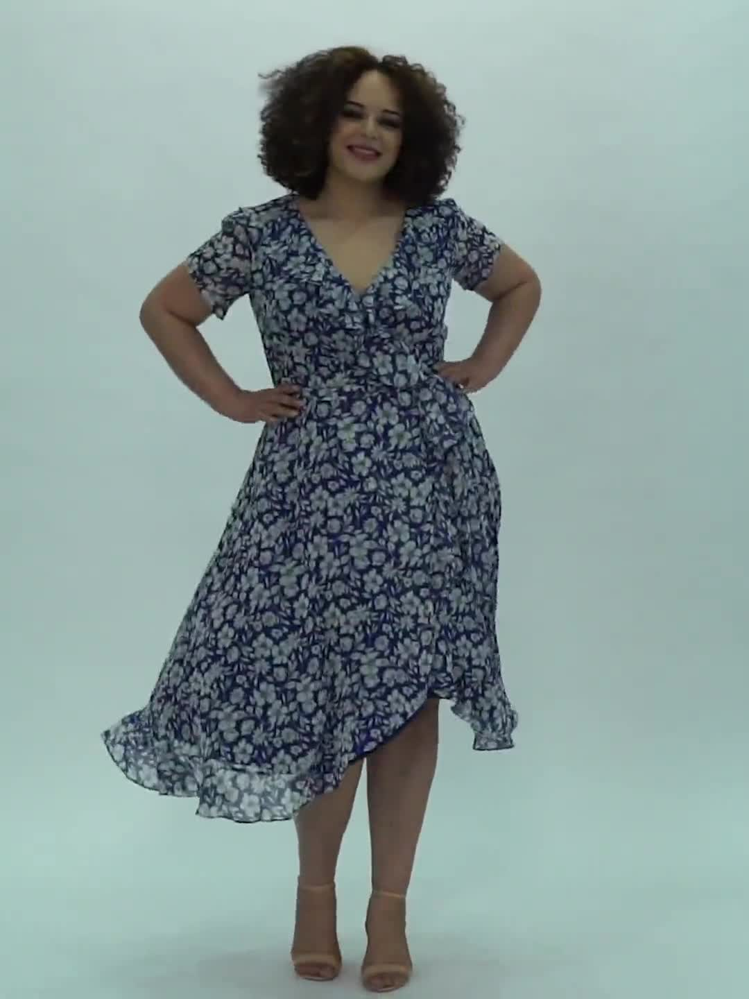Floral Ruffle Neck Wrap Chiffon Dress - Video