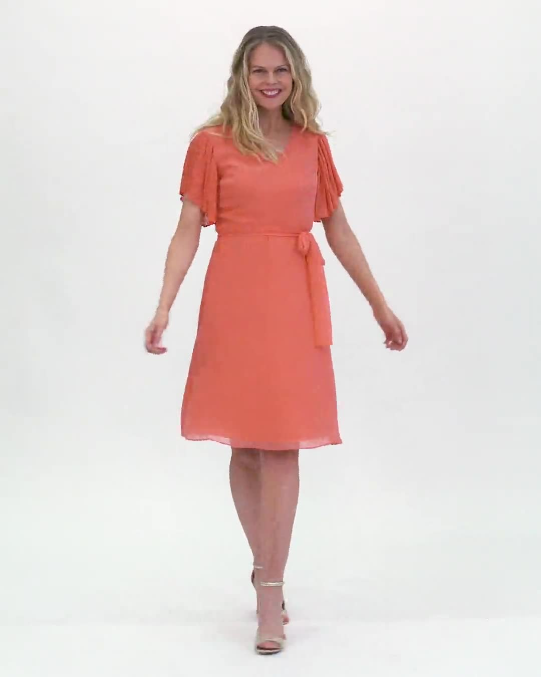 Chiffon Short Pleated Sleeve Dress with Soft Self Fabric Belt - Video