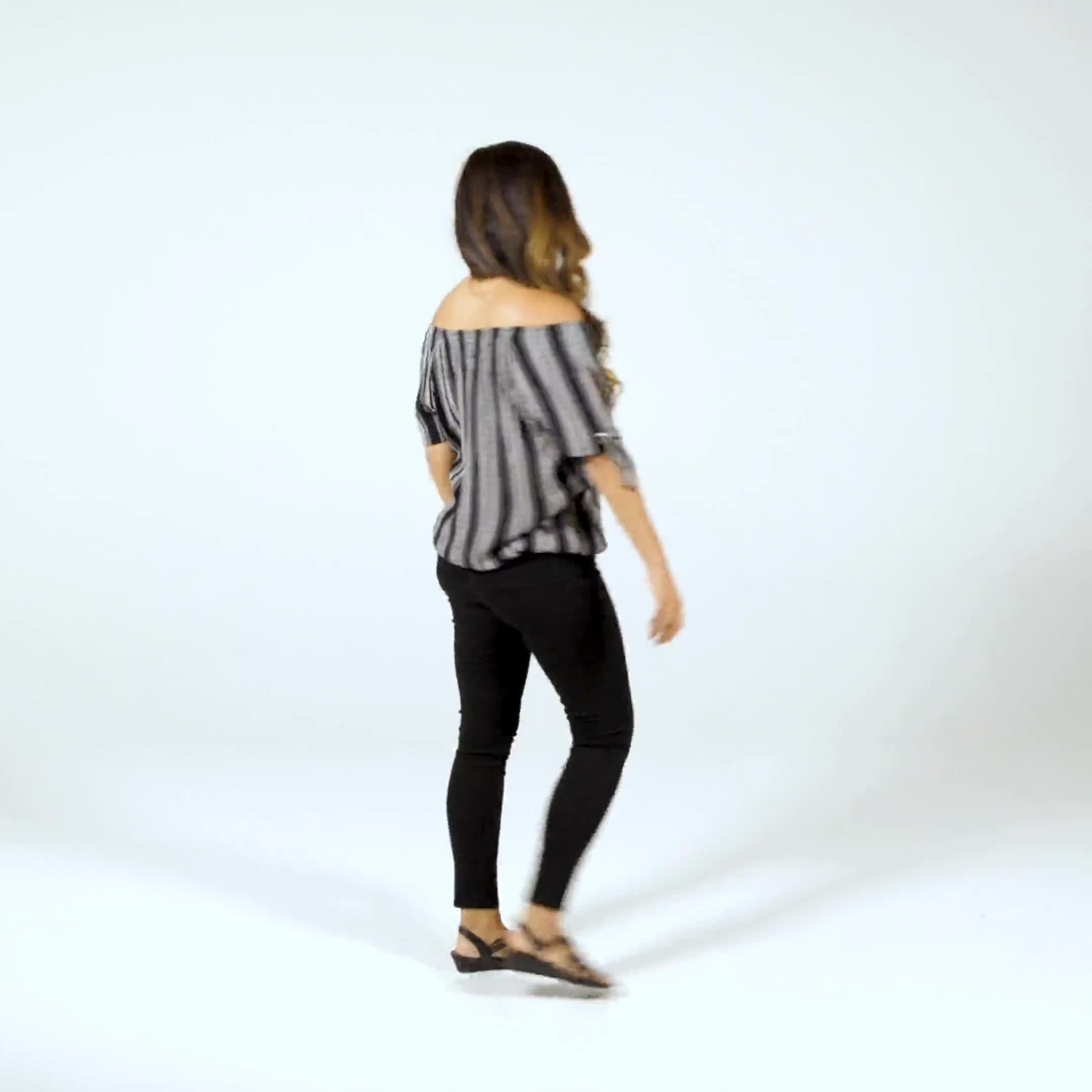 Smocked Geometric Grommet Tie Sleeve Top - Video