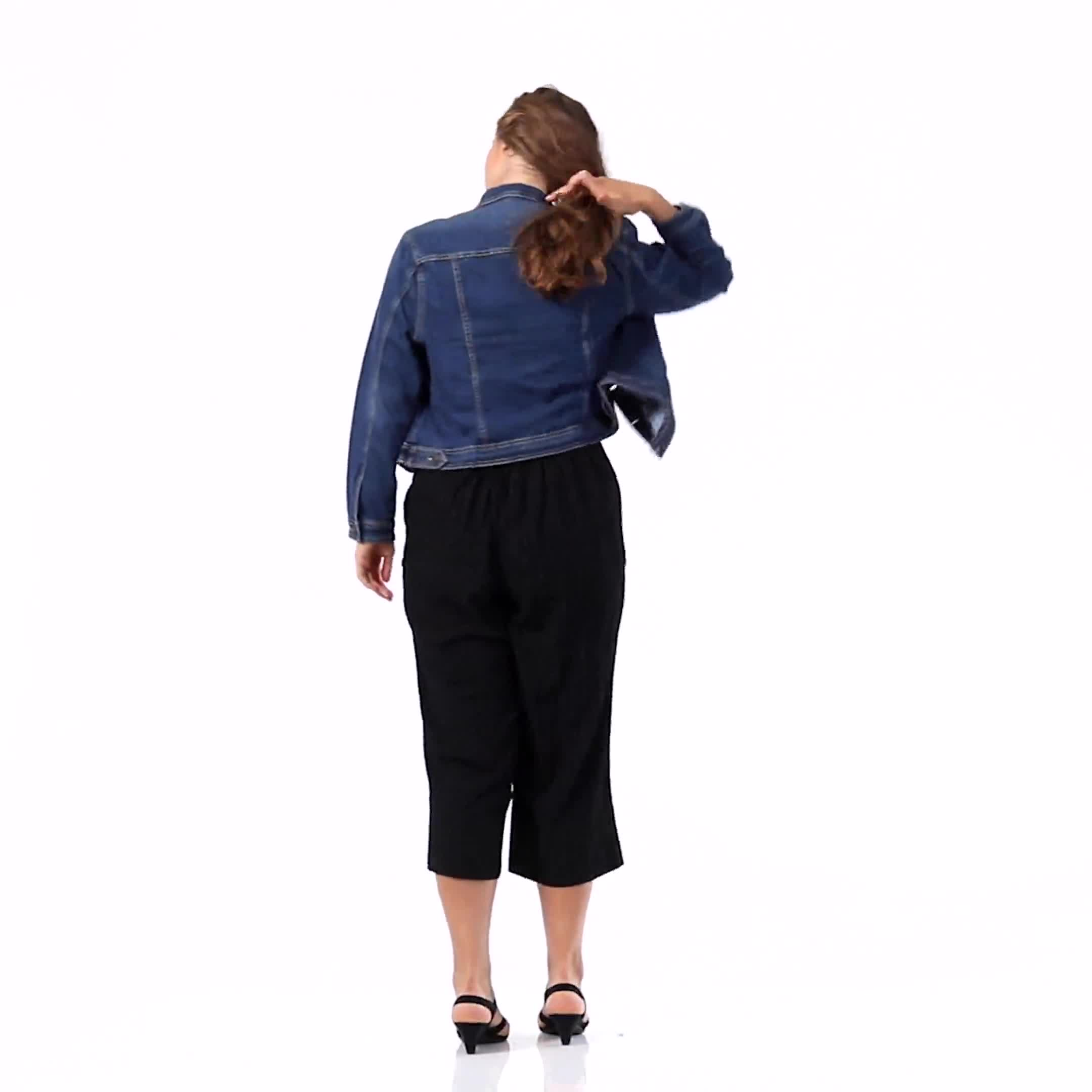Plus Pleated Crop Pant  with button trim detail - Video