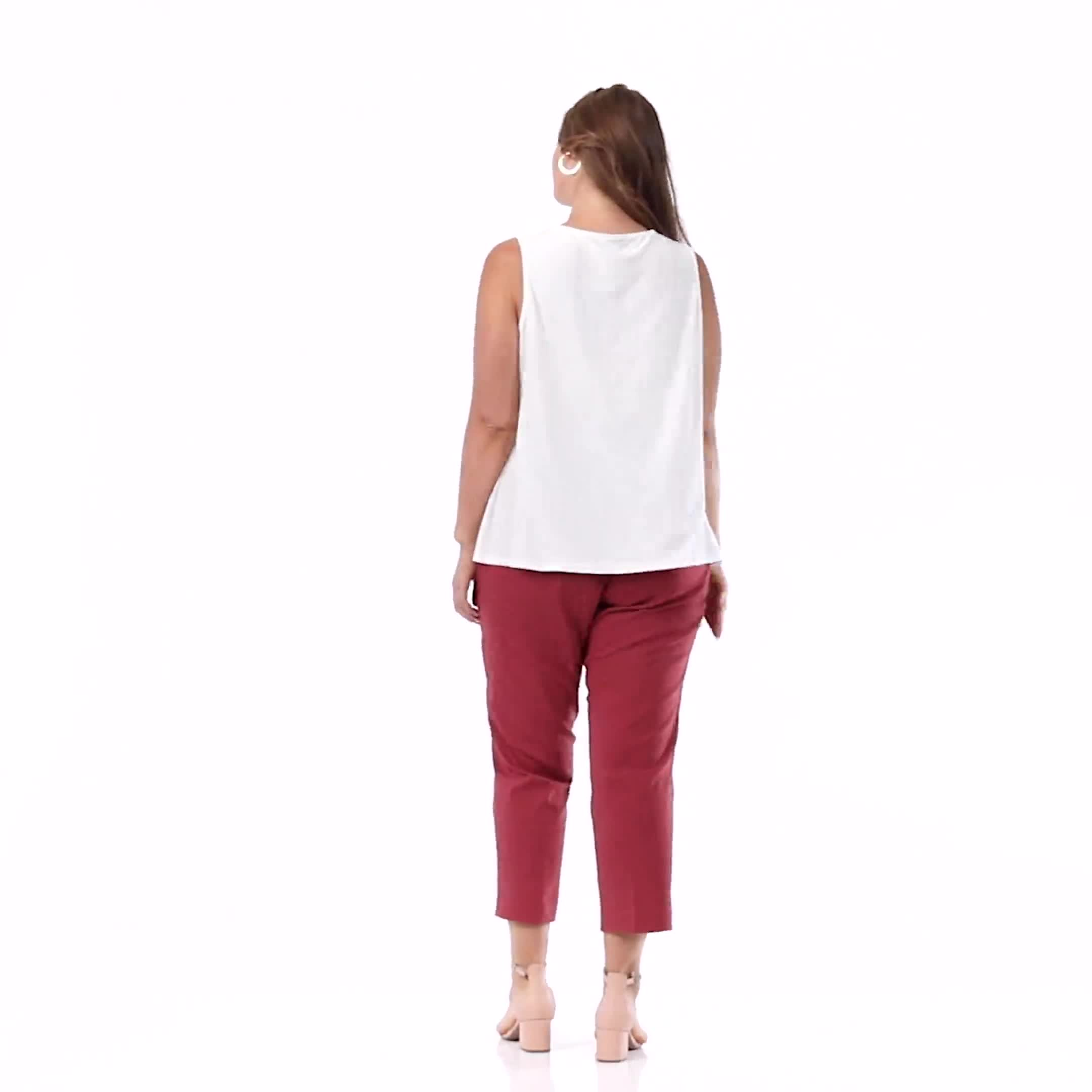 Plus- Pull On Ankle Length Pants With Zipper And Metal Tab - Video